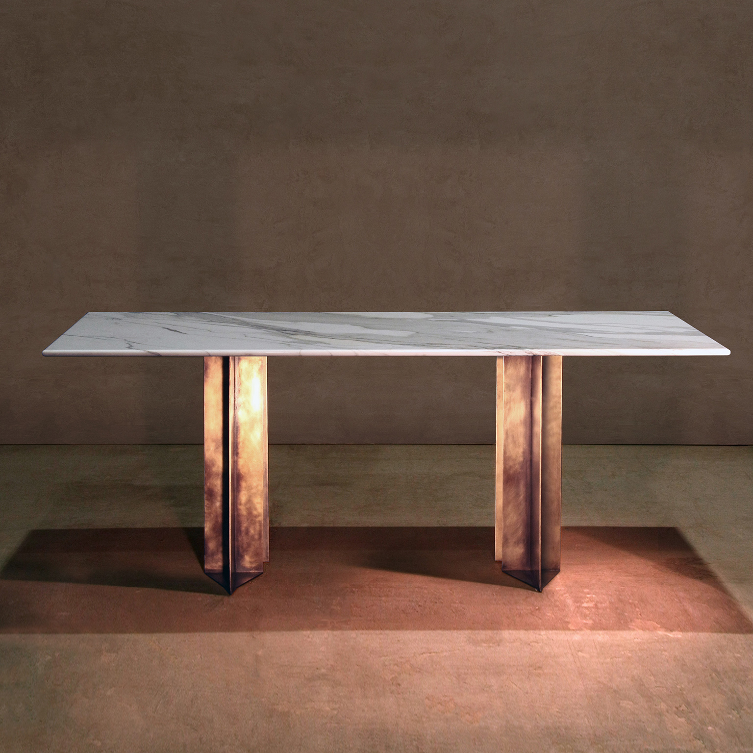 Lind + Almond - Dining Table - <p>A dining table in metal and honed Cumbrian slate, with a polished brass trim. Hand crafted in the North to order. Custom sizes and finishes are available.</p>  | Matter of Stuff