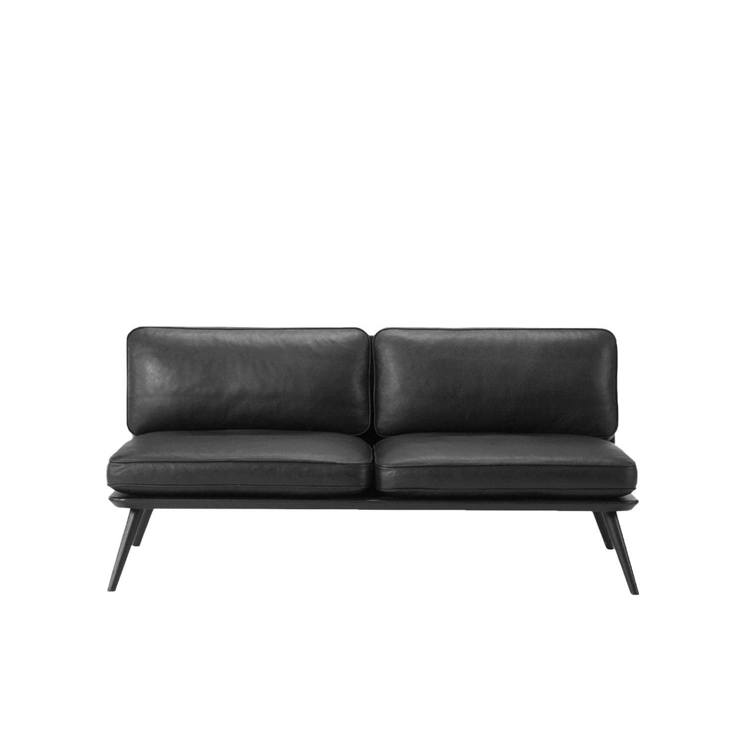 Spine Lounge Suite Sofa 2 Seater - Spine Lounge Suite Sofa pays respect to the traditions of hand upholstering to which Fredericia built its name on, while offering a modern flavour in its own succinct and simple way.  Curved corners, ample cushions and somewhat low to the ground, Spine Lounge is a testament to simplicity as the ultimate form of exclusivity. What began as a Spine Lounge Chair for a Michelin-star restaurant has expanded into an entire series with the same signature approach, encompassing the Spine Lounge Suite, Spine Petit, Spine Daybed, Spine Sofa and Spine Bench. An array of variants that easily lend themselves to all kinds of scenarios in the high-end hospitality and retail sector, as well as private residences.   What they all share is a soft, plush cushioned side for comfort supported by a singular structure in solid wood. Incorporated into the structure are slightly splayed legs at either end, which signal a sense of relaxed informality.   The upholstery draws on Fredericia's signature techniques, with a modern spin. Discrete details on various versions, such as the leather piping around the sides, add to the series' subtle sophistication.   The result is a succinct design that's soft yet solid. Fluid yet structured. Poetic yet purposeful. Able to exude, at a glance, an ambience of elegance.  | Matter of Stuff
