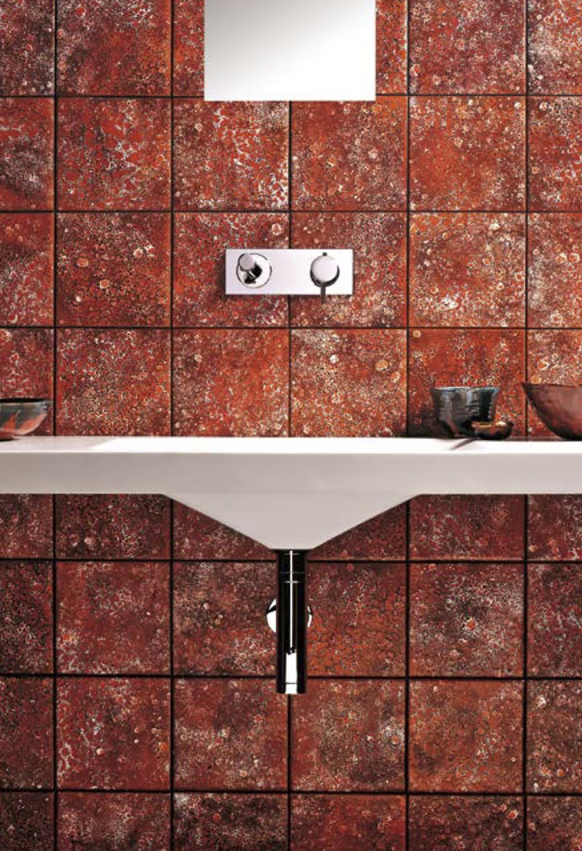 Square Tiles Red Materico -    Matter of Stuff
