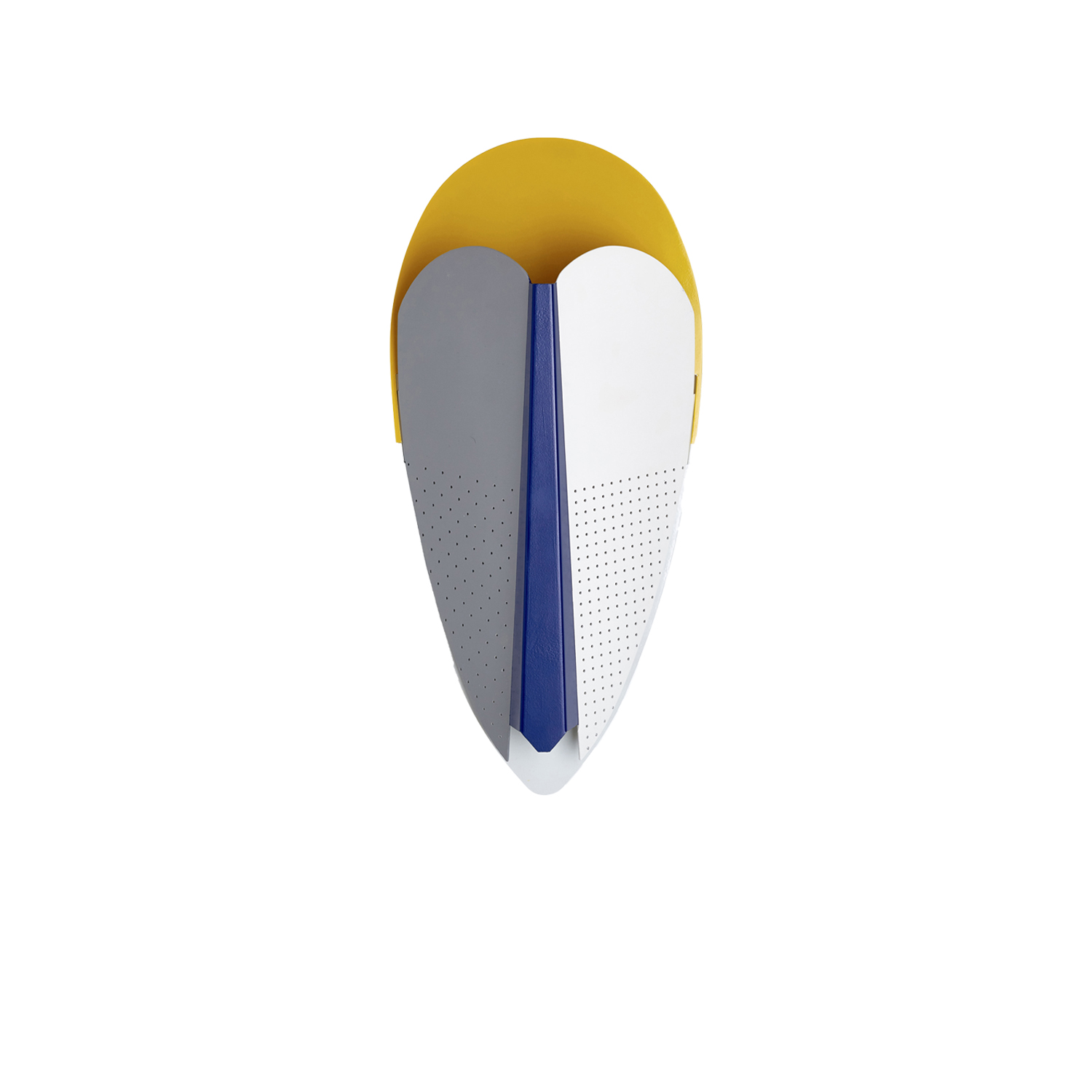 Sorcier Wall Light - Sorcier is a wall light inspired by the ritual Ngil masks of the Fang tribe in Gabon. The light appears through the perforations in the mask and shines upward in a graphic and gentle way. More than a light, Sorcier is a sculpture. It changes personality depending on the combination of colours, textures and perforations patterns.  | Matter of Stuff