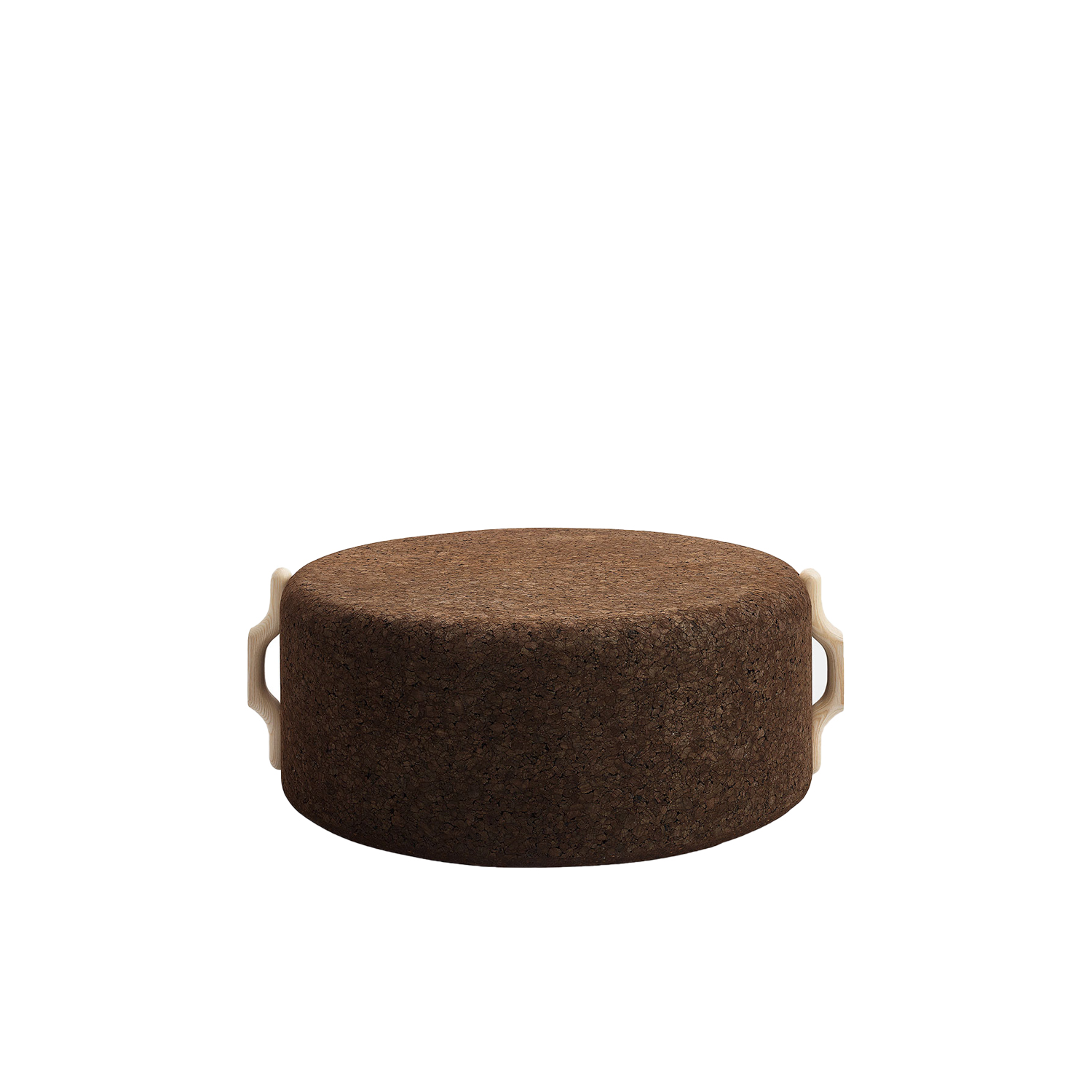 """Omega Large Stool 8 - It is only used cork of the branches (falca) for the manufacture of cork granules. These are block clusters in autoclave, being 100% natural process, without use of additives. Technology, developed by Sofalca, consists of injecting water vapour through the pallets that will expand and agglutinate with the resins of the cork itself. This """"cooking"""" gives also dark colour to the agglomerated cork, like chocolate. In the production of steam I used biomass, obtained on milling and cleaning the falca, what makes it truly ecological production and without waste, 95% energy self-sufficient. As a super-material, cork offers so many advantages, because in addition to its excellent thermic, acoustic insulation and anti vibration characteristic, it is also a CO2 sink playing a key-role in the environment. 