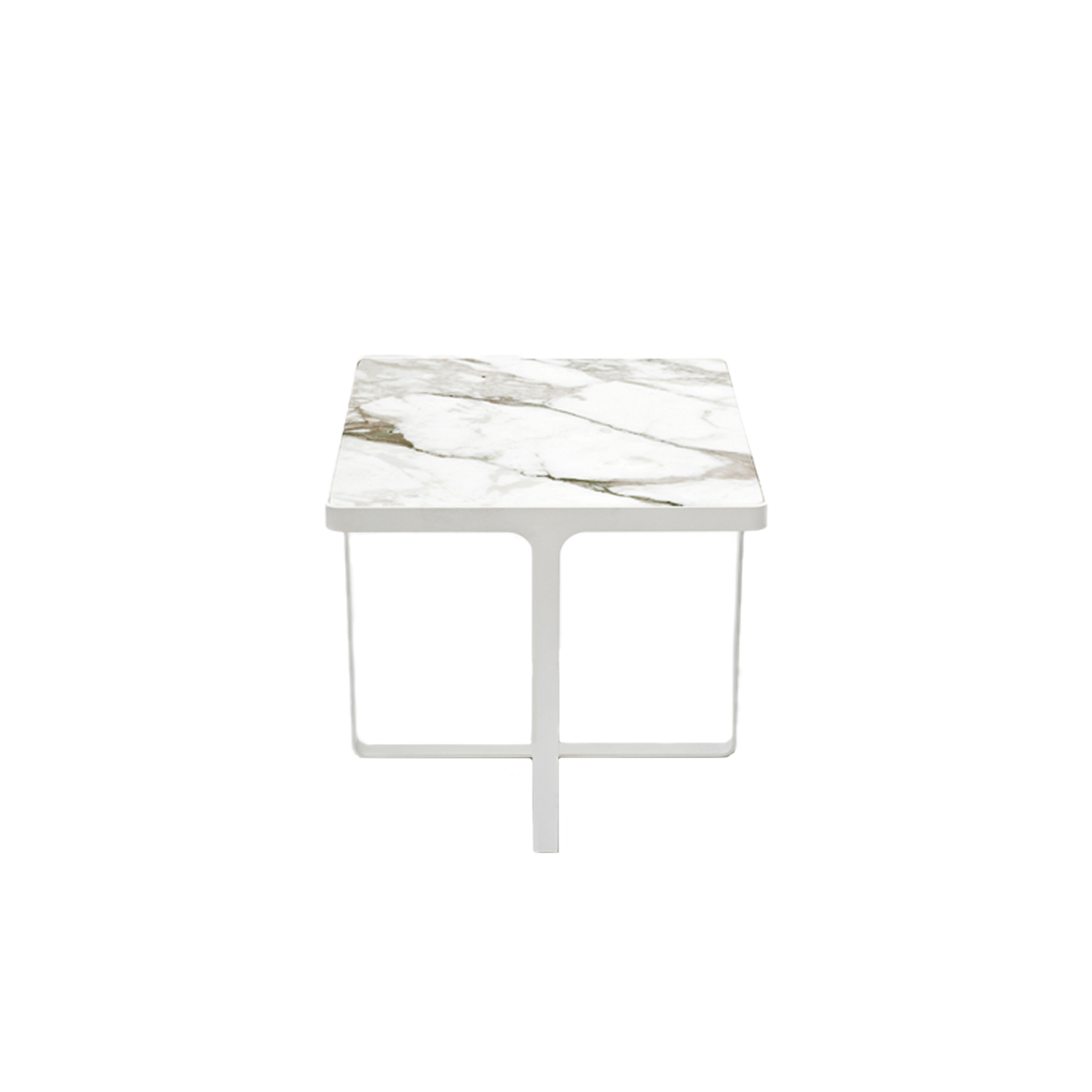 Cage Square Side Table  - Minimalism and elegance are the key features of Cage coffee tables, with their metal base that is both support and frame for the precious marble top. Cage tables can be round or square, high or low, and they accompany and complement all the sofas and armchairs in the Tacchini collections. The minimum order quantity is two. Please enquire for more information, finishes and prices.  | Matter of Stuff