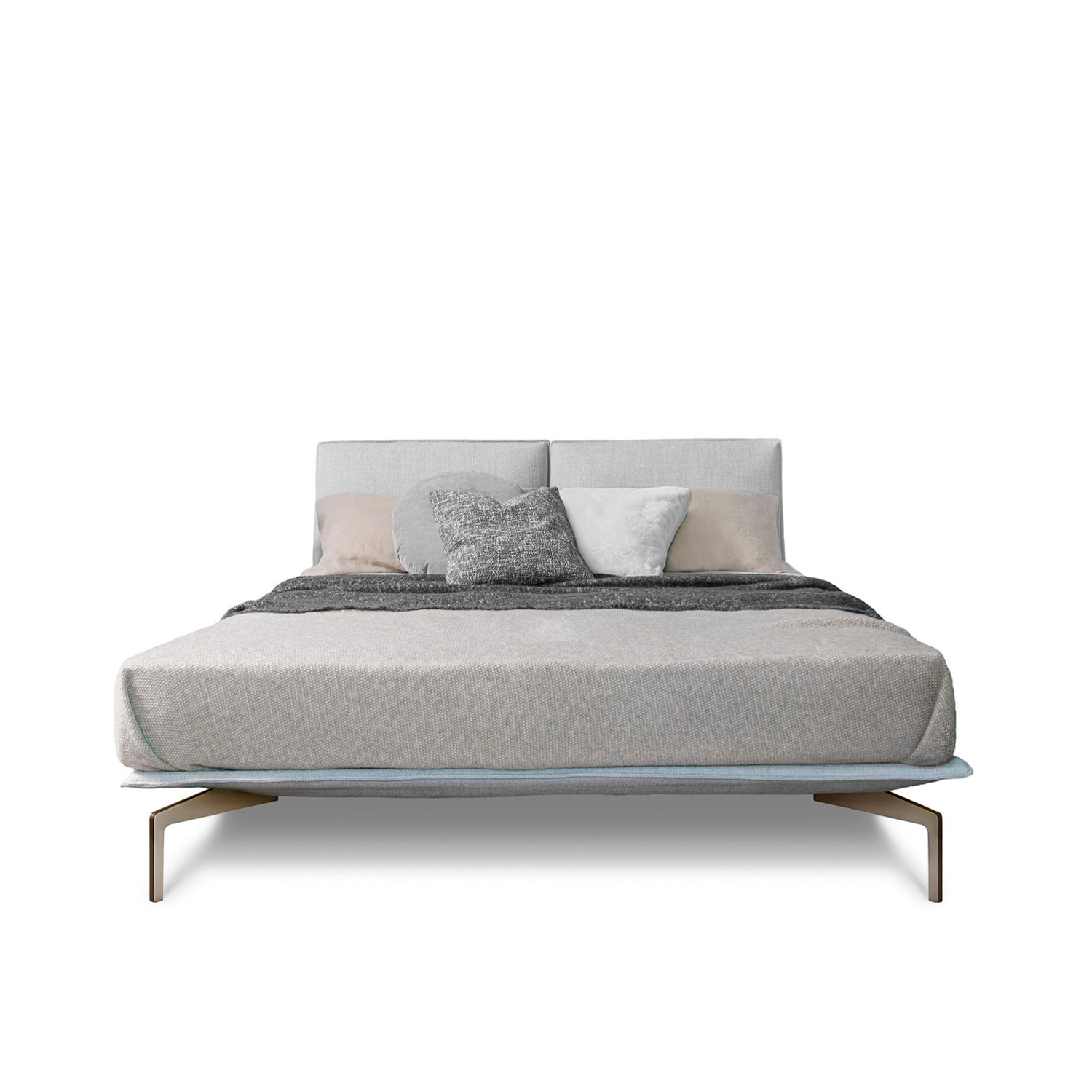 Avant-Aprés Bed  - The Avant-Après bed has a sober allure and elegant presence. The design is grounded yet lightweight and transforms into a range of interesting configurations thanks to the detachable headboard. The headboard pieces allow for flexibility in the design and can be positioned along the entire circumference of the base. The bed-frame available for upholstery in fabric or leather, rests neatly on a metal base finished with glazed chrome or painted metal feet.  Additional removable cover is available, please enquire for prices.  Materials Structure in painted metal, the structure includes an orthopedic bed base in semi-rigid multilayer wood with millings for the mattress ventilation and it is covered with velfodera coupled with pressed 300gr/sqm. Headboard panels are in multilayer wood padded with polyurethane foam and covered with velfodera coupled with polyurethane foam. Their anchorage with base is guaranteed through painted metal plate equipped with brackets. | Matter of Stuff