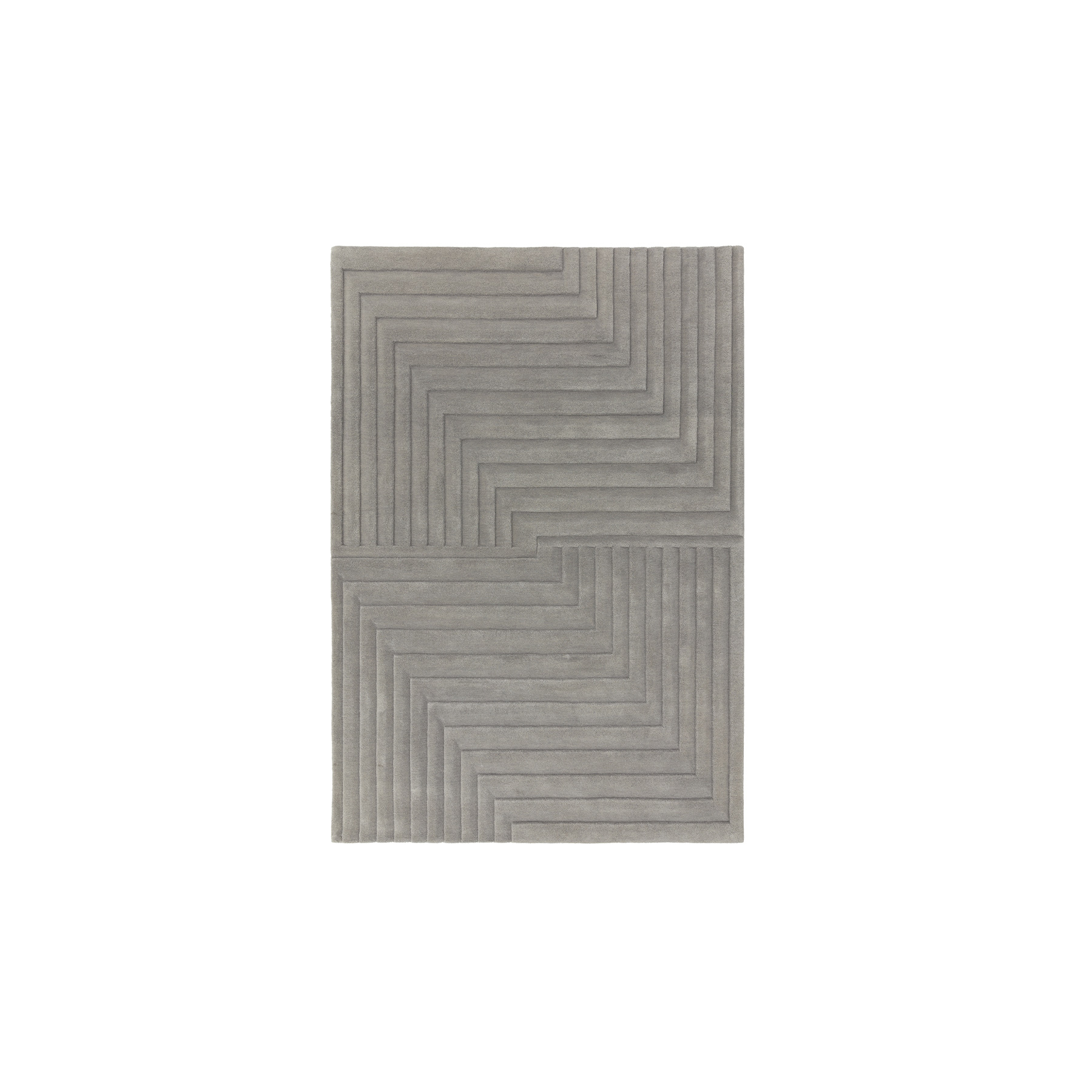 Form Silver Rug - Our collection of plain rugsfeature a largely neutral and natural palette of greys and creamswith modern fashionable contrast tones added throughout. The use of clean lines and complimentary borders adds visual interest whilist maintaining the contemporary ethos. Fomr is a series of sophisticated 3D sculptured rugs, expertly hand craved. Available in different sizes.