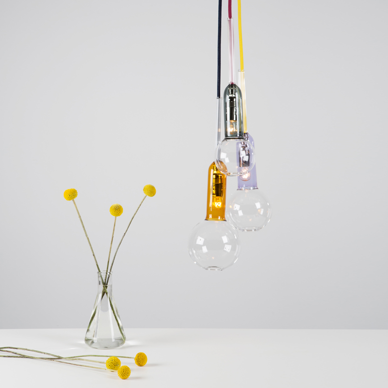 Cluster 3 Vitro Lux Mixer - <p>The glass bodies in conturax and coloured glass expand to three sizes of glass spheres.  This aids with the positioning when the glass is suspended from the ceiling.  The yellow, grey and violet glass colours are elevated with dark blue, maroon and yellow cables.</p>  | Matter of Stuff