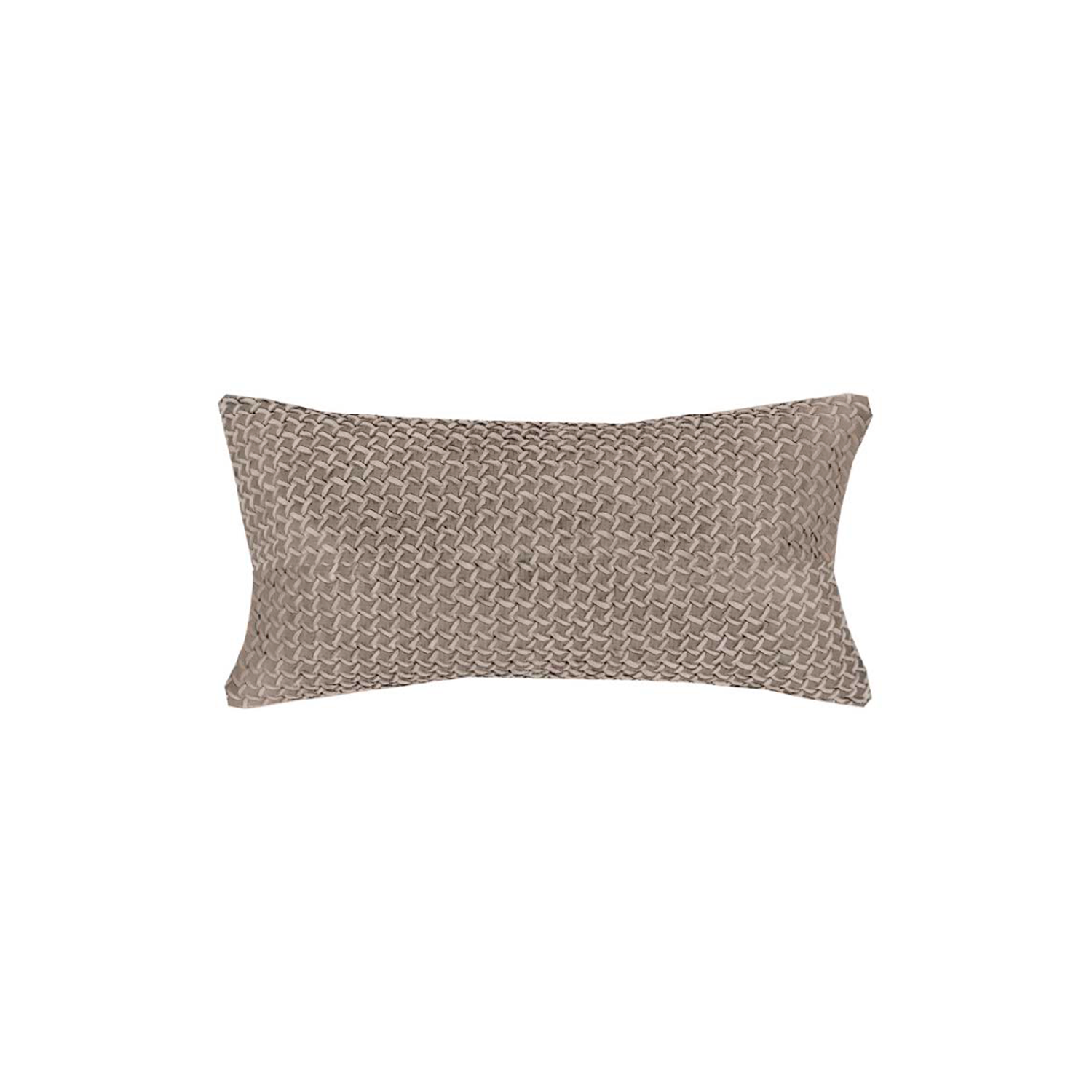 Mini Catavento Woven Suede Leather Cushion Small - The Mini Catavento Woven Suede Leather Cushion is designed to complement an ambient with a natural and sophisticated feeling. This cushion style is available in pleated leather or pleated suede leather. Elisa Atheniense woven handmade leather cushions are specially manufactured in Brazil using an exclusive treated leather that brings the soft feel touch to every single piece.   The front panel is handwoven in leather and the back panel is 100% Pes, made in Brazil.  The inner cushion is available in Hollow Fibre and European Duck Feathers, made in the UK.  Please enquire for more information and see colour chart for reference.  | Matter of Stuff