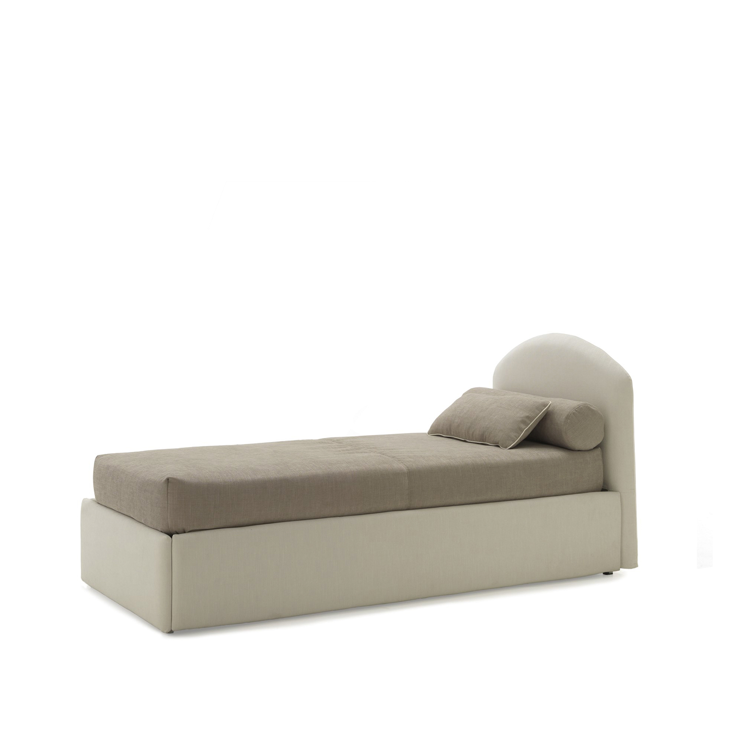 Neolia Sofa bed - The rounded headboard characterises the Neolia Program of sinlge beds, that offers many ideas for furnishing children's bedroom. The apparent simplicity has been achieved by careful research. On request all the models can be equipped with two drawers, with a pull-out slat for a second bed or with a roomy storage box concealed inside the upholstered base. The bed can be covered with any leather, eco-leather or fabric available in our sample book or also with fabric supplied by the customer.  All beds are available in different sizes and frame options. Please enquire for more details. | Matter of Stuff