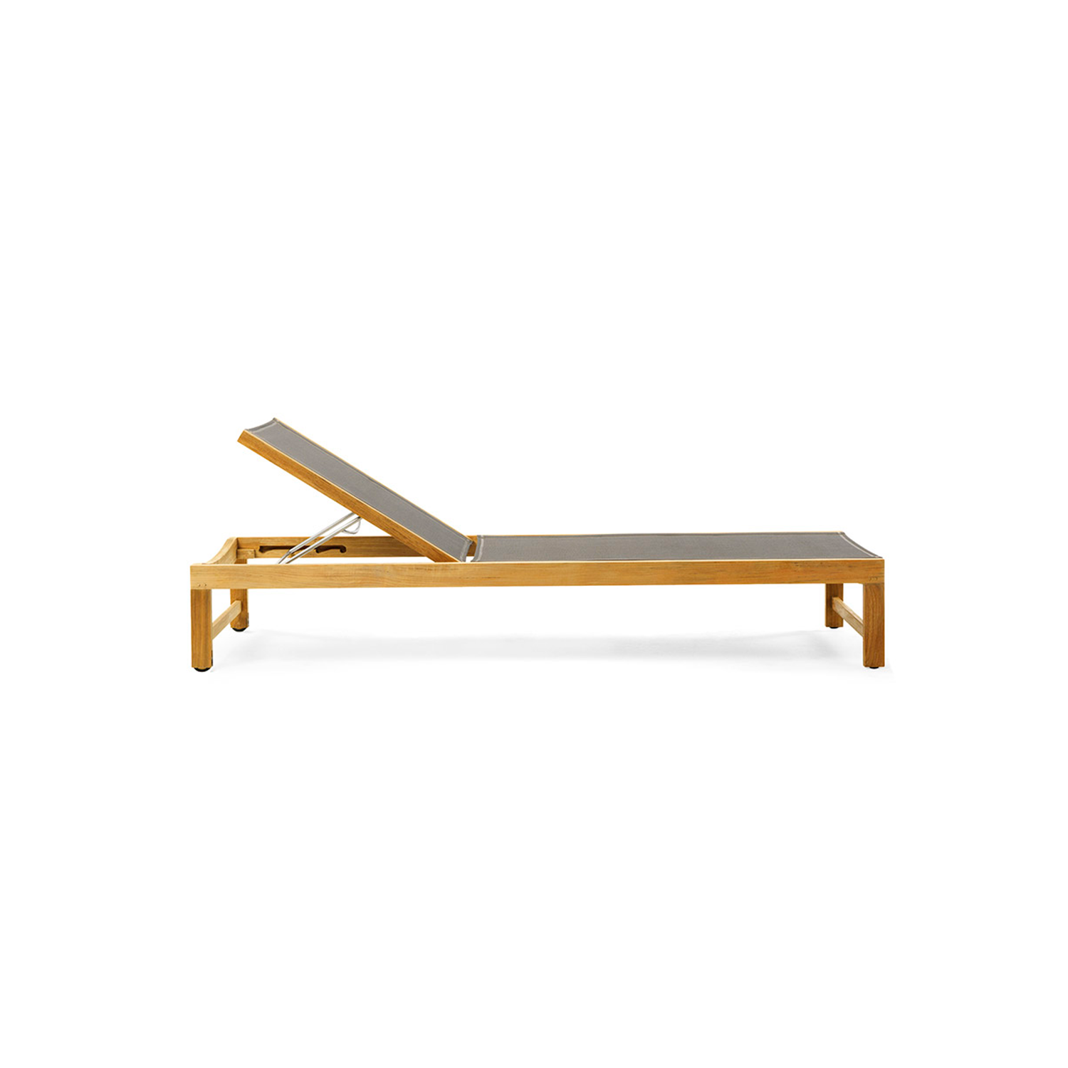 Sand Teak + Ethitex Sunbed - The solid and rational wood frame of the Sand sun lounger, with adjustable back, accommodates, in the lighter solution, convenient waterproof fabric or, in the version in teak throughout, a soft mattress.  Sand sunbed by Ethimo with frame in teak of the highest quality and fabric in Ethitex. Adjustable backtrest in four positions. | Matter of Stuff