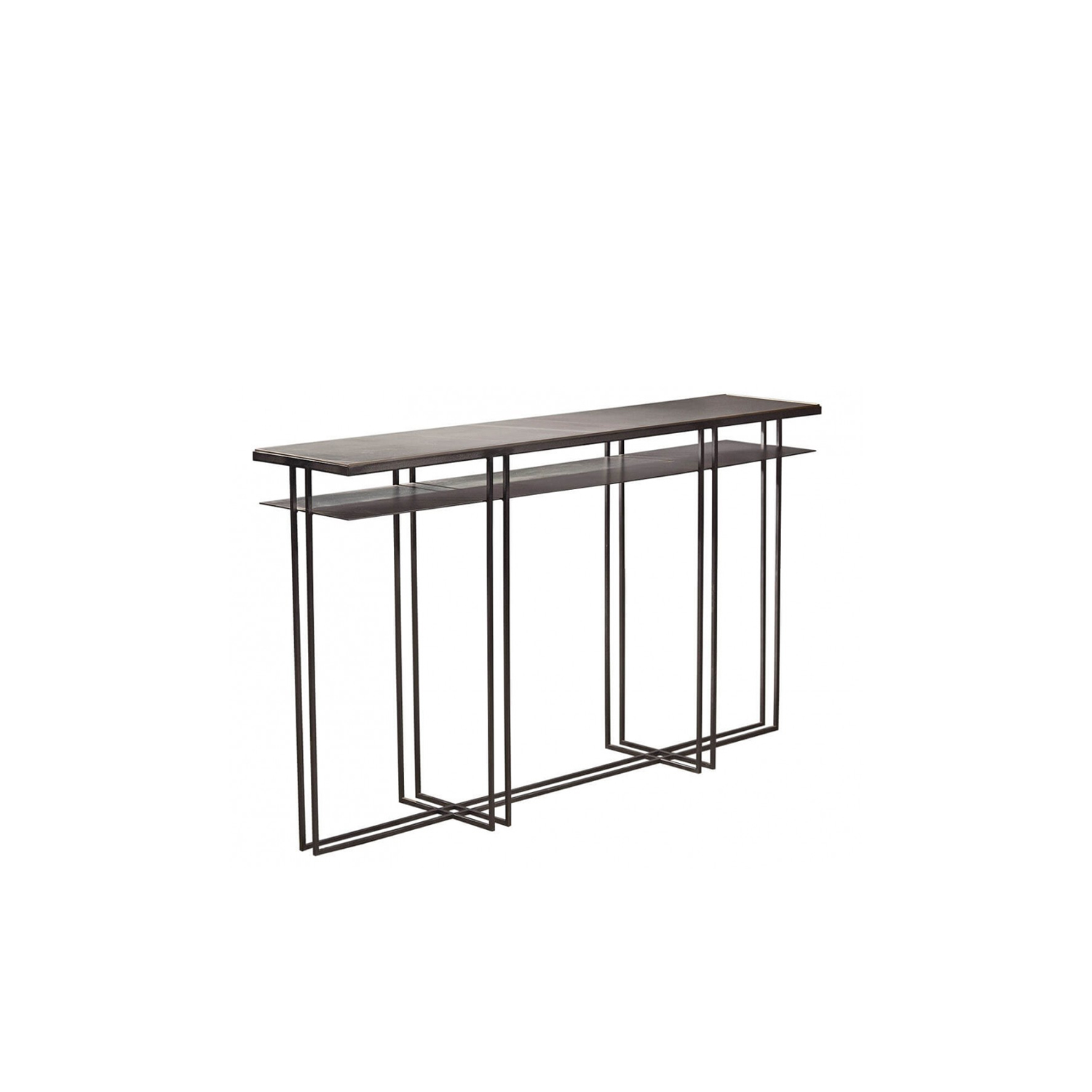 Cross Binate Console - This table fits into almost any room from lounges in the home to meeting rooms at the office. The Cross Binate Consoles slim design means that it can be placed along a wall and is not intrusive. It has a Blackened Steel Frame and a honed Cumbrian Slate Top, with a polished brass trim. This table is hand made and crafted to order in the North of England. Custom sizes and finishes are available.  | Matter of Stuff