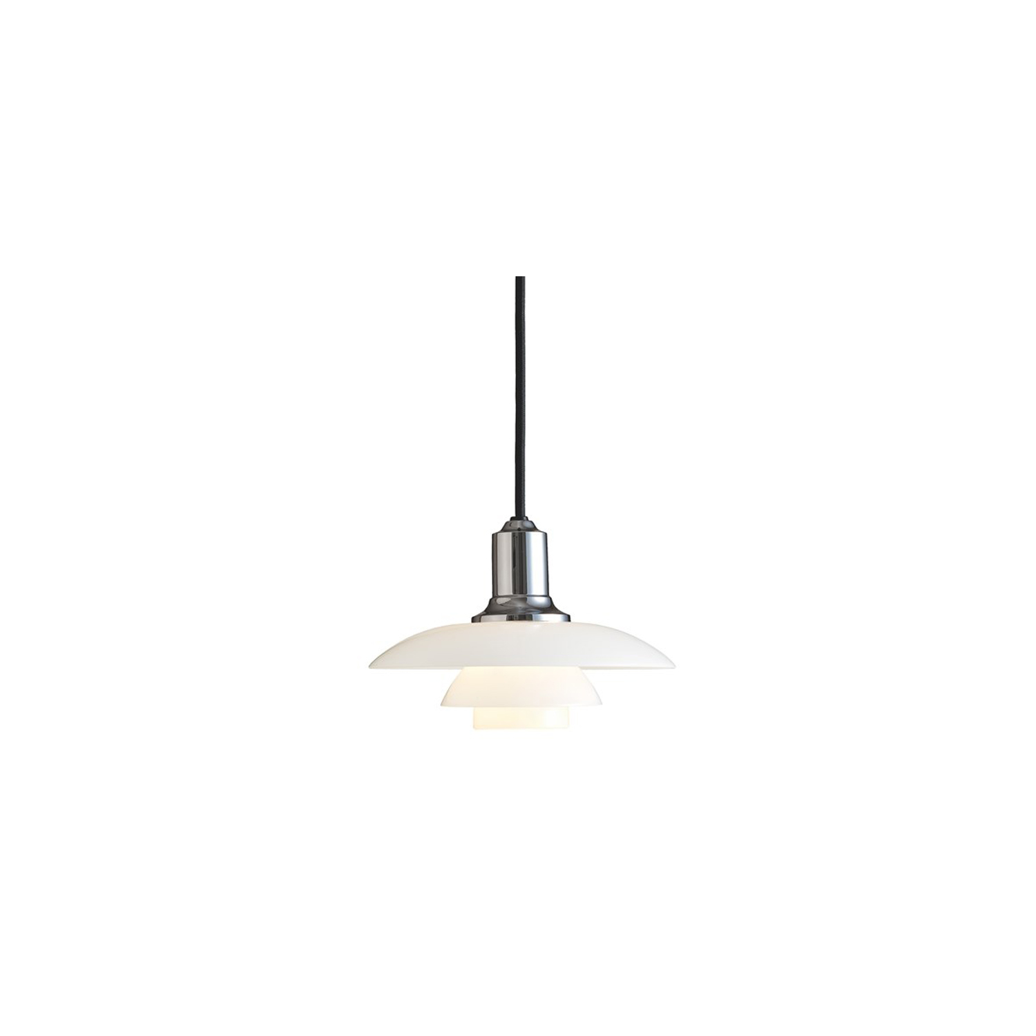 PH 2/1 Pendant Light - The fixture is designed based on the principle of a reflective three-shade system, which directs the majority of the light downwards. The shades are made of mouth-blown opal three-layer glass, which is glossy on top and sandblasted matt on the underside, giving a soft and uniform light distribution. | Matter of Stuff
