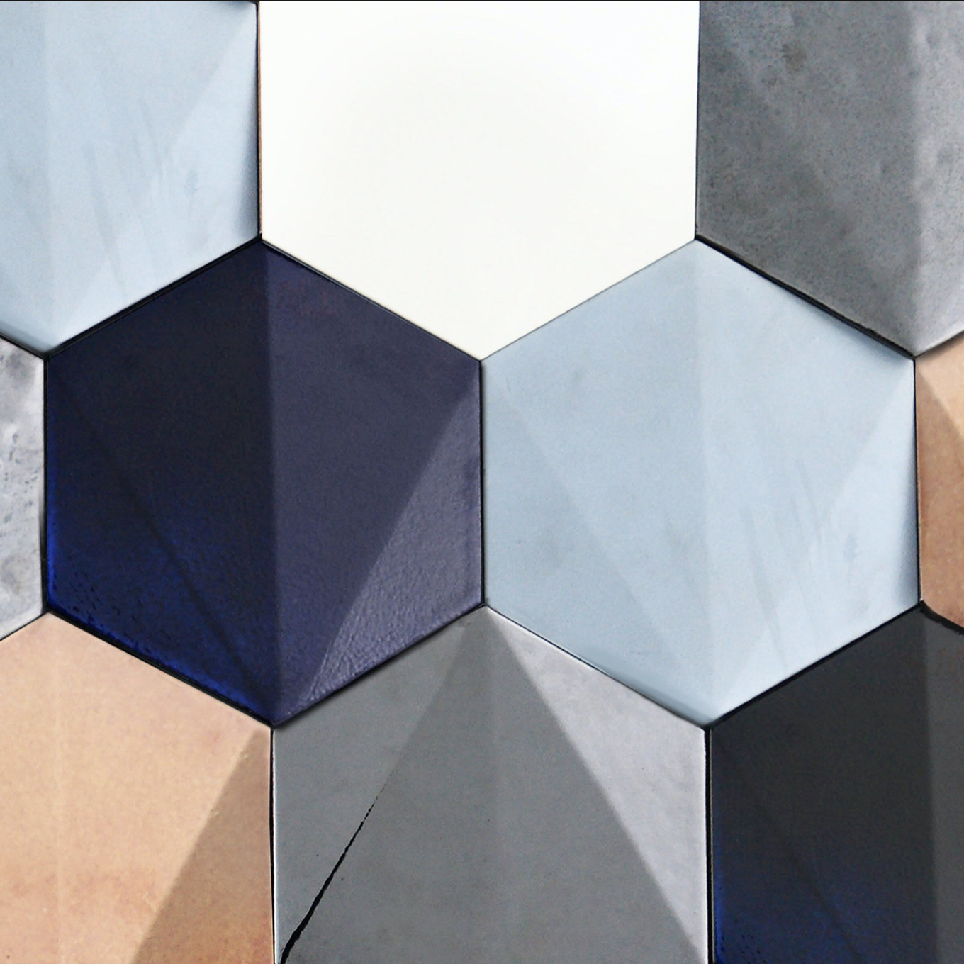 Hexagon 3D Tile - Simple Colour - Our Hexagon tiles are handmade 3D Hexagonal asymmetric pyramids, perfect to create vibrant walls and vertical surfaces, suitable for both indoors and outdoor.  Hexagon tiles are ideal for commercial spaces and residential projects.  These tiles can be produced using single or mixed colours, as well as any bespoke glazing effect.  Hand-crafted in Italy. | Matter of Stuff