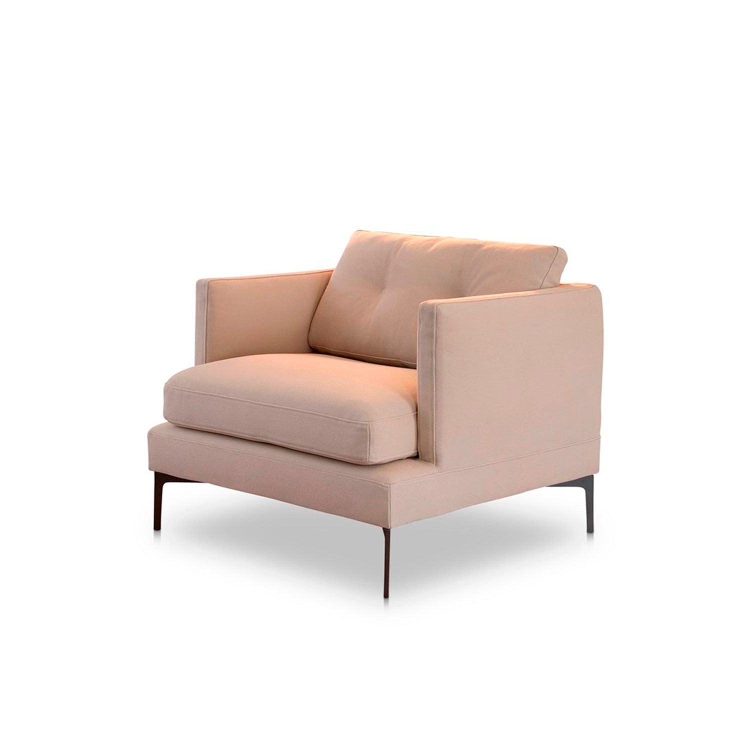 Baby Essentiel Lounge Armchair  - The Baby Essentiel armchair offers a contained seating solution that follows the same design as the sofa and exhibits a form without excess and with comfortable ergonomics. An armchair that recalls a certain Italian historical elegance, merging sophisticated elements with a simple outline. The attention to details that distinguishes Saba can be found in the quilted cushions and in the thin painted legs that support the armchair. Also available with a grosgrain cord trim. Fully removable covers.  Additional removable cover is available, please enquire for prices.  Essentiel, the new Saba line, presents itself with a clear purpose.A design without excess and with friendly ergonomics represents a mix of historic Italian elegance and northern traits, merging harmonious elements in the space-time map of design.Attention to detail, a feature that has always characterized Saba collections, can be noticed in the quilting of the back rest cushions, in the canetè rope borders (gray or rope) and the particular corten painted leg rest.With essential lines that can be customized, the 67cm and 77cm back rest cushions can even be featured in the tall versions with support rollers.The modules include a wide range of sofas, lateral elements, peninsulas and terminal elements, suitable for any design need.The Essentiel armchair rounds out this timeless project with its sophisticated allure.  Materials Structure in wood padded with variable-density polyurethane foam, covered with fine velvet coupled with resin 200gr/sqm. Feat 17 cm high in shaped metal painted finish. The seat cuschions are padded with variable-density polyurethane foam, covered with polyester fiber 350gr/sqm. The back cushions are in polyester fiber mixed with washed and sterilized goose feather divided into sections and covered with 100% white cotton fabric anti-feather. The cylinder of high back cushions are filled with polyurethane foam core covered with fine velvet coupled with re