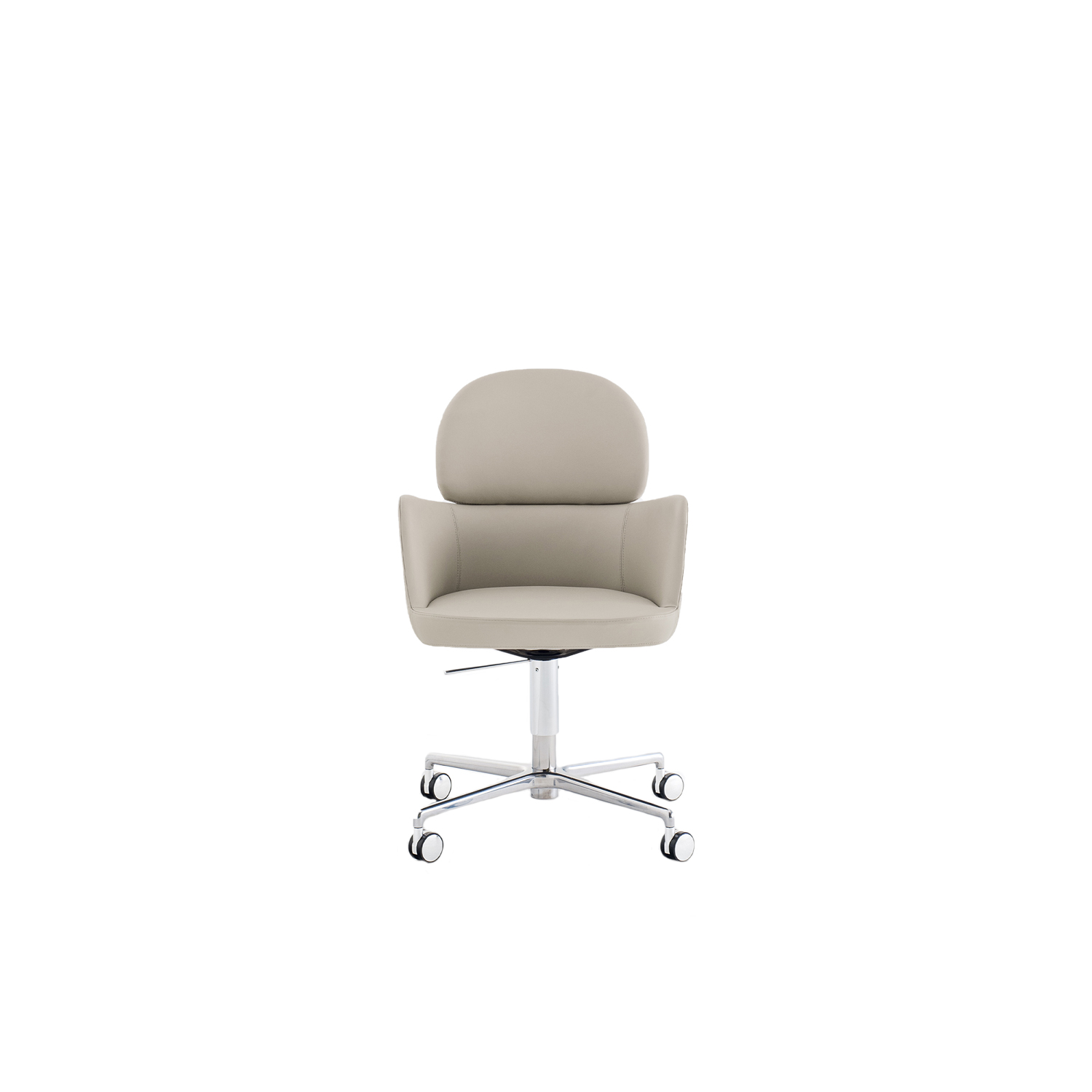 Ester Swivel Armchair - Ester is a mix of elegance, ergonomics and functionality. The soft and graceful lines and the great comfort offered by the seat distinguish the interior of the most exclusive restaurants, offices and hotels in the international scenario. Swivel armchair with the gas device, high backrest, upholstered shell in polyurethane foam with elastic belts. Die-cast four-star aluminium central base with castors | Matter of Stuff