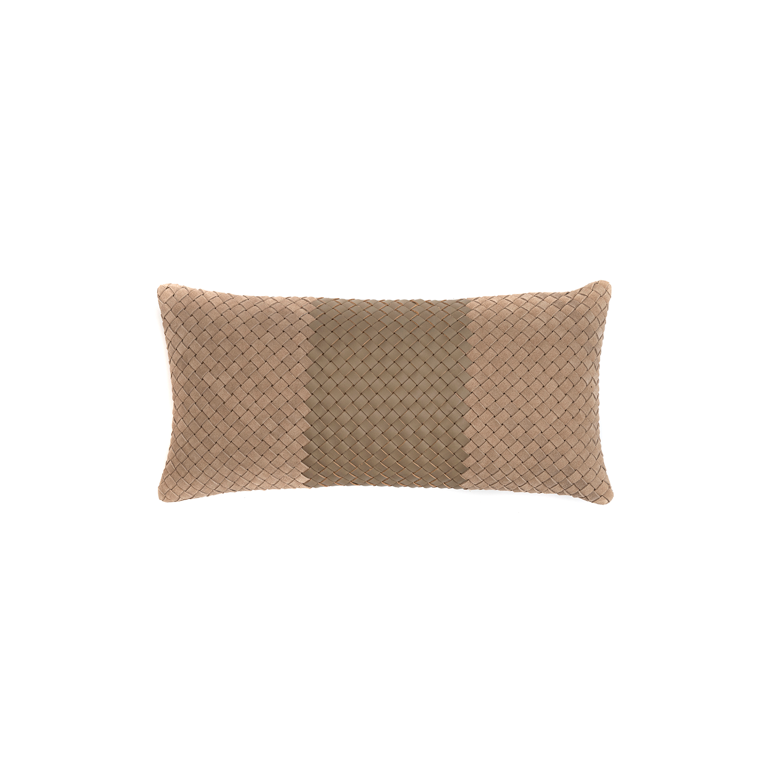 Mosaico Faixa Bicolor Woven Leather Cushion Small - The Mosaico Faixa Bicolor Woven Leather Cushion is designed to complement an ambient with a natural and sophisticated feeling. This cushion style is available in pleated leather or pleated suede leather. Elisa Atheniense woven handmade leather cushions are specially manufactured in Brazil using an exclusive treated leather that brings the soft feel touch to every single piece.   The front panel is handwoven in leather and the back panel is 100% Pes, made in Brazil.  The inner cushion is available in Hollow Fibre and European Duck Feathers, made in the UK.  Mosaico Faixa Bicolor Woven Leather Cushion is available in multiple colours of leather and suede leather. Please enquire for colour combination, see colour chart for reference.   | Matter of Stuff