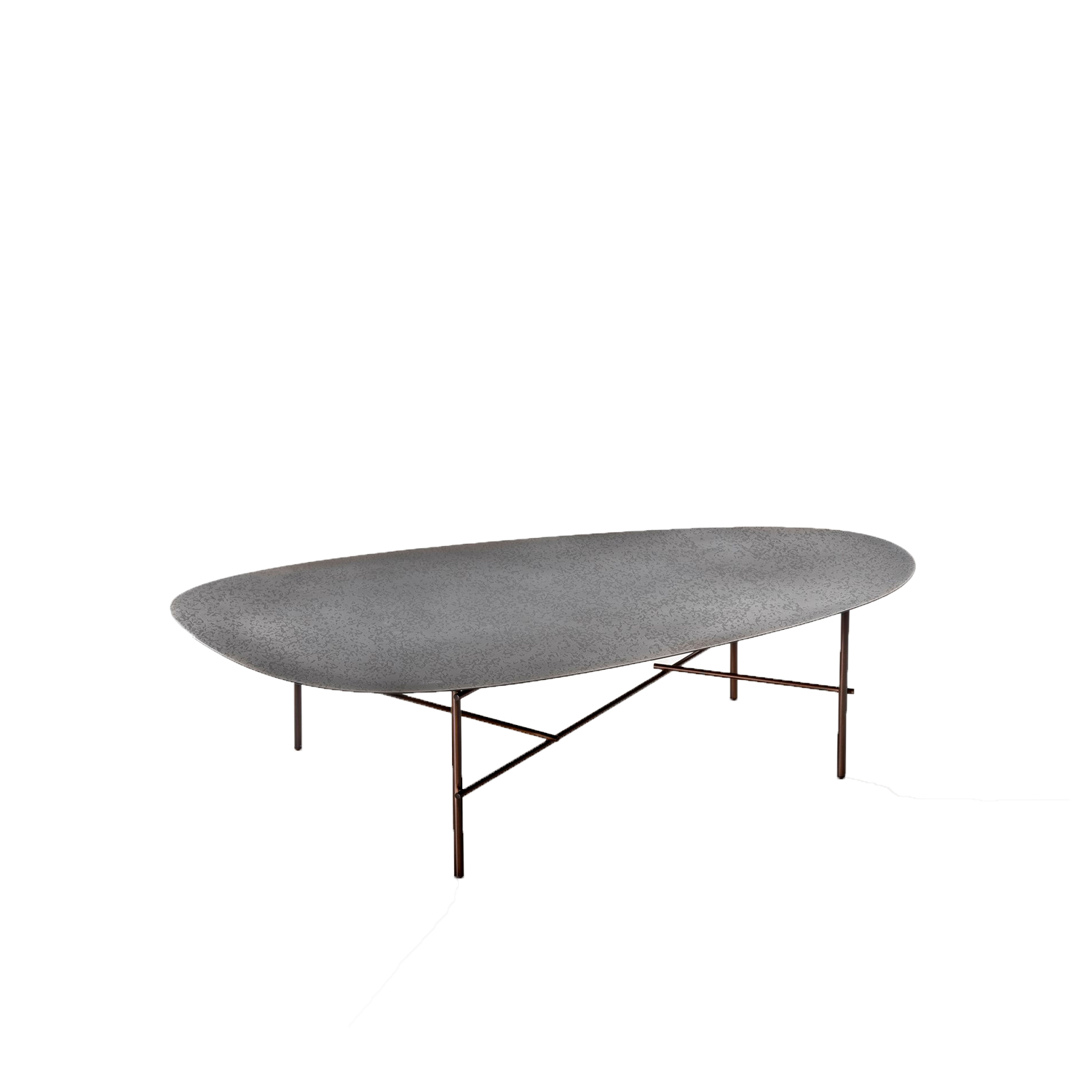 Syro XL Coffee Table - An oversize version of the Syro side tables, Syro XL is characterized by the DeErosion finish that defines the top.‎ Deep erosions in the metal create landscapes along the form's generous proportions, enhancing its features and the elegant imperfection of hand-worked craftsmanship.‎