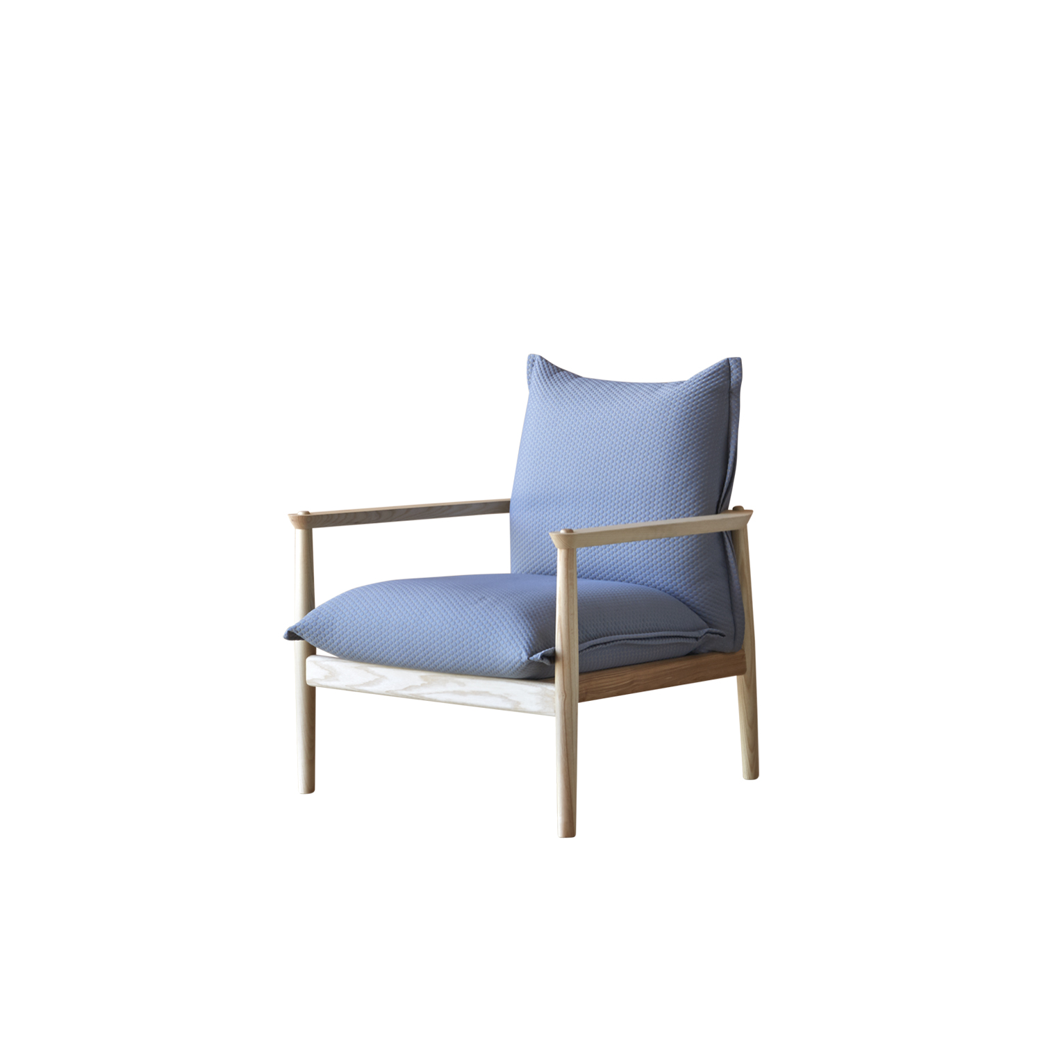 Sergia Armchair - Armchair with wooden base and frame in natural ash, ash stained walnut, black, grey, or intense blue aniline. The seat and the back consist of two cushions upholstered in the listed fabrics. 
