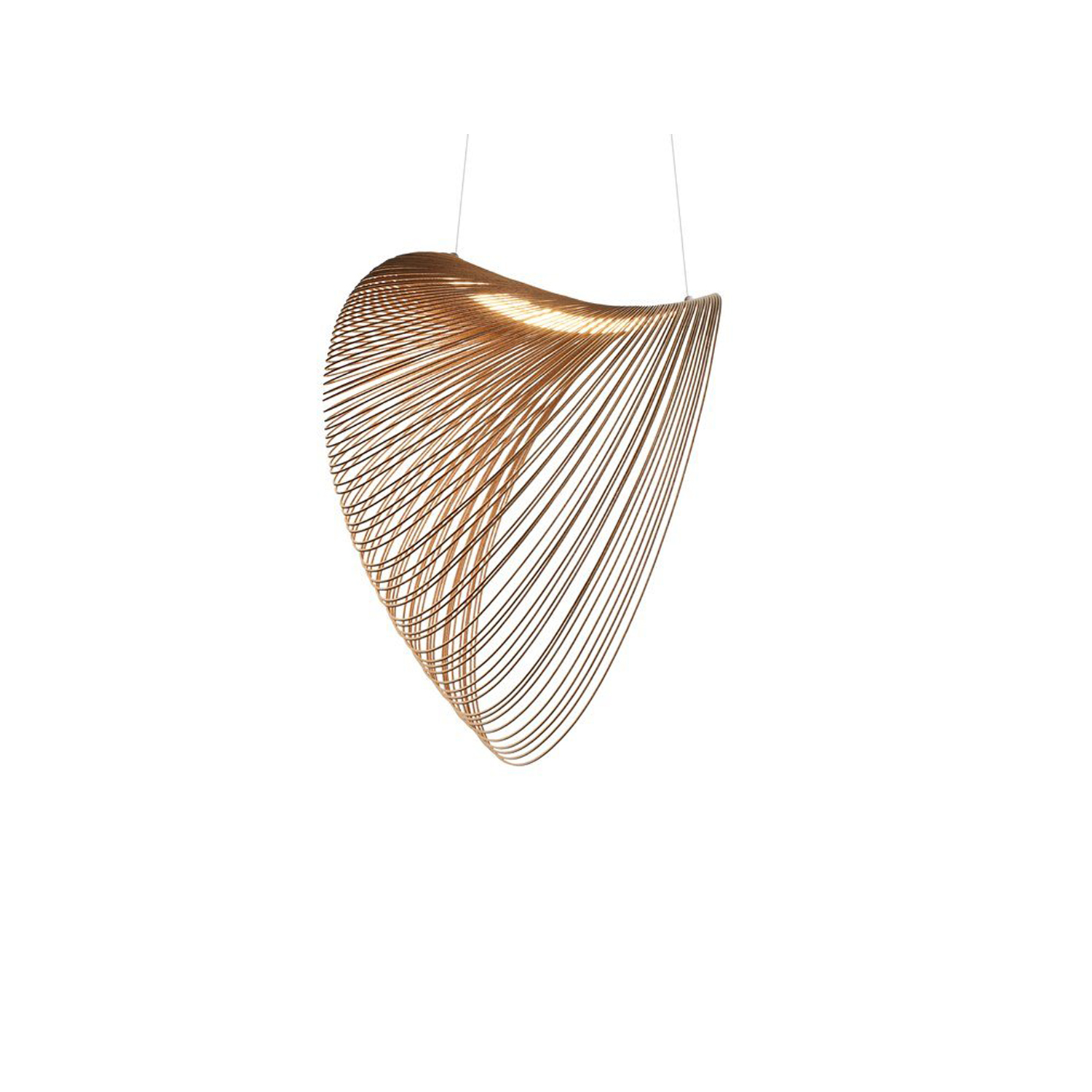 Illan Suspension Lamp - Technological innovation, research on materials and sustainability converge in harmony in the Illan suspension.  The lamp is composed of a very light body made with extremely thin, flexible plywood, cut by laser along densely packed equidistant lines. This is a precious and varying material whose unique natural character can be seen in the typical grain pattern. These characteristics are the distinctive features of the project. Once suspended from the ceiling, Illan takes on volume thanks to the force of gravity and assumes its characteristic form that floats in the air.  The highly decorative and emotional impact expressed through the intelligent and original use of materials, make it a truly special lamp. Skillful use of the LED source creates very comfortable, relaxing diffused lighting. Illan is available in multiple sizes up to one meter in diameter. | Matter of Stuff