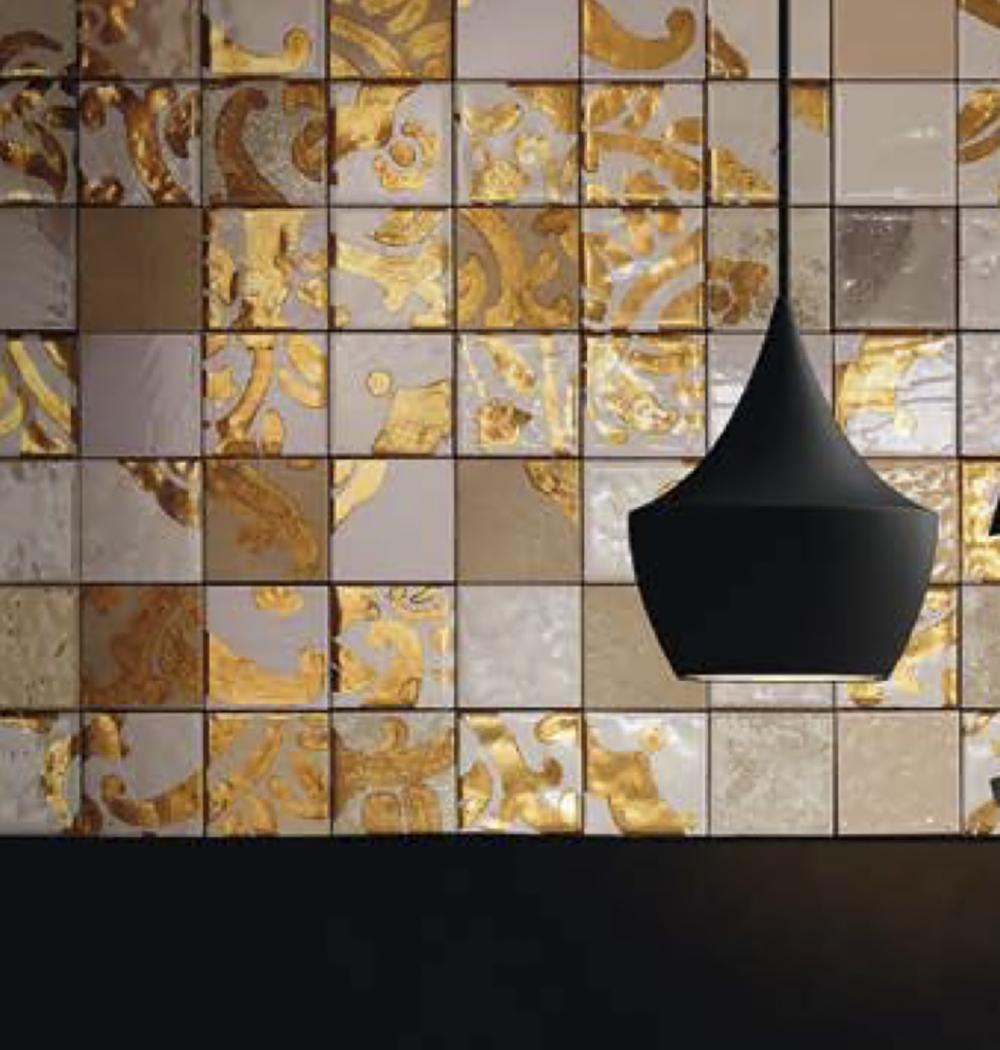 Square tile Gold 18kt Hand decoration -  | Matter of Stuff