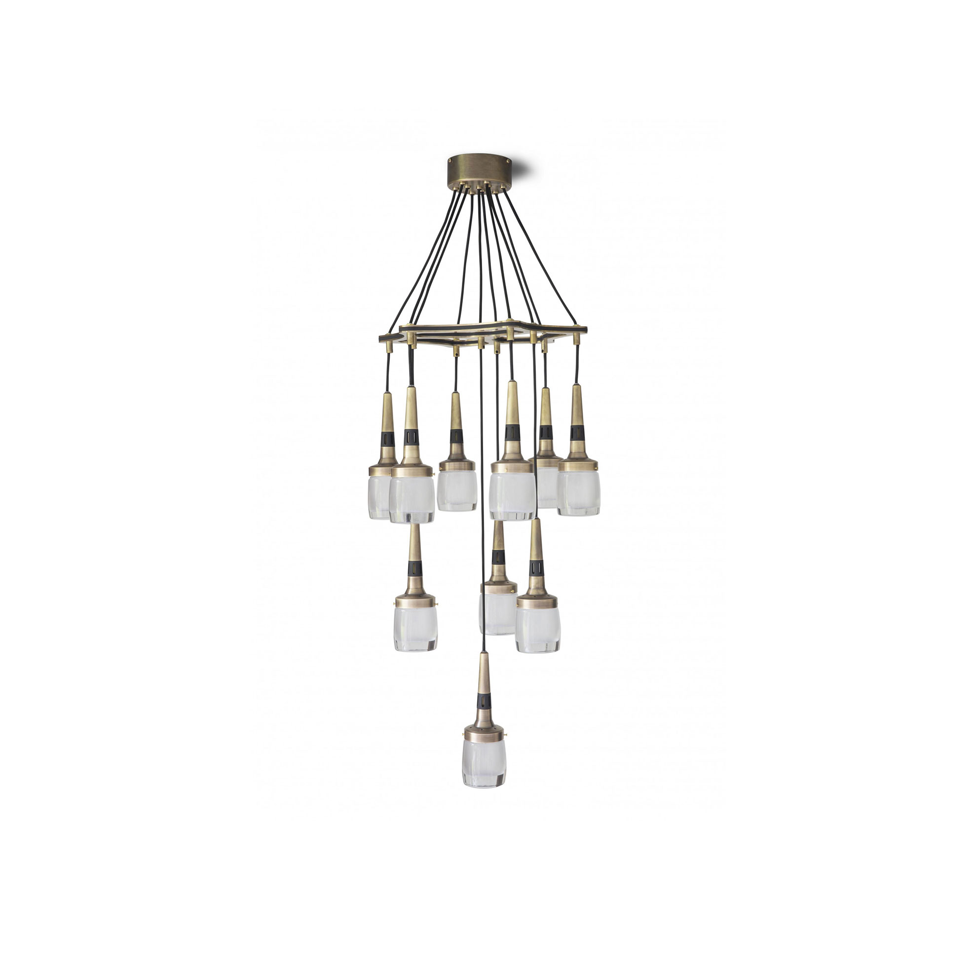 Flagon Chandelier - With hand-finished brass, contrasting black highlights and thick 'whisky glass' shades, the Flagon Chandelier makes an arresting statement. Ten drop shades will dramatically illuminate a dining table, hallway or stairwell.    | Matter of Stuff