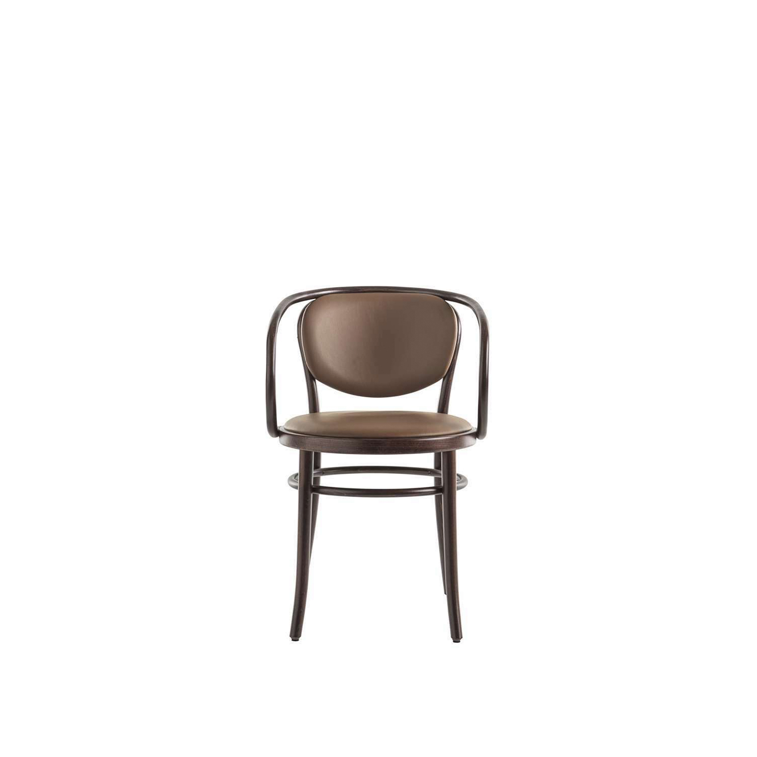 """Wiener Stuhl Upholstered Armchair - """"A simplified design to create an elegant, comfortable, popular item"""". The structure has an all-embracing simplicity, and is formed from just a few elements in steam bent solid beech. The backrest and the back legs are moulded from a single piece of wood. Available with various different seats: woven cane, beech plywood (with or without piercing), or padded and upholstered in leather or fabric to match the backrest.  