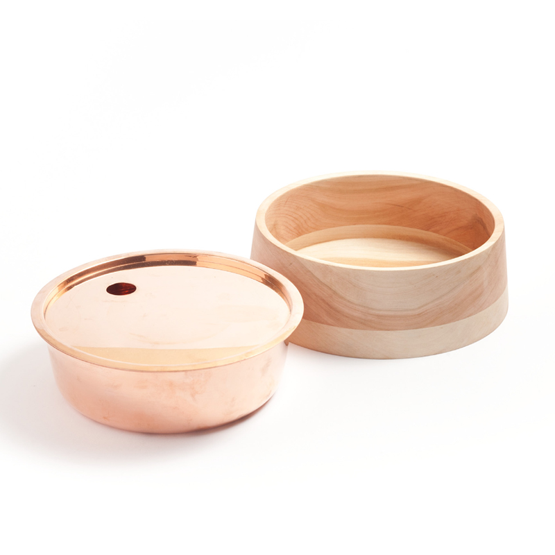 Base Bowl B - <p>Base bowls collection is a set of containers completely made by hand, with an open and everyday use. One of the main attributes of this collection is the integration of two container pieces combined in one unit. According to this logic, each bowl includes two separate layers: The external one made of Lenga wood and the internal layer made of copper.</p>