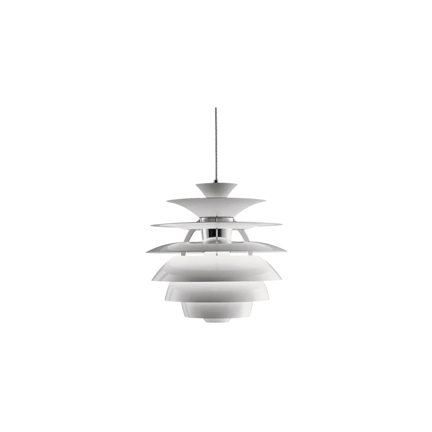 PH Snowball Pendant Lamp - The fixture emits comfortable glare-free diffuse light. Matt painted undersurfaces and glossy top surfaces result in an attractive reflection of the diffused light, creating uniform light distribution around the fixture. When the light is switched on, the top portion is illuminated while the bottom part remains dark.  | Matter of Stuff