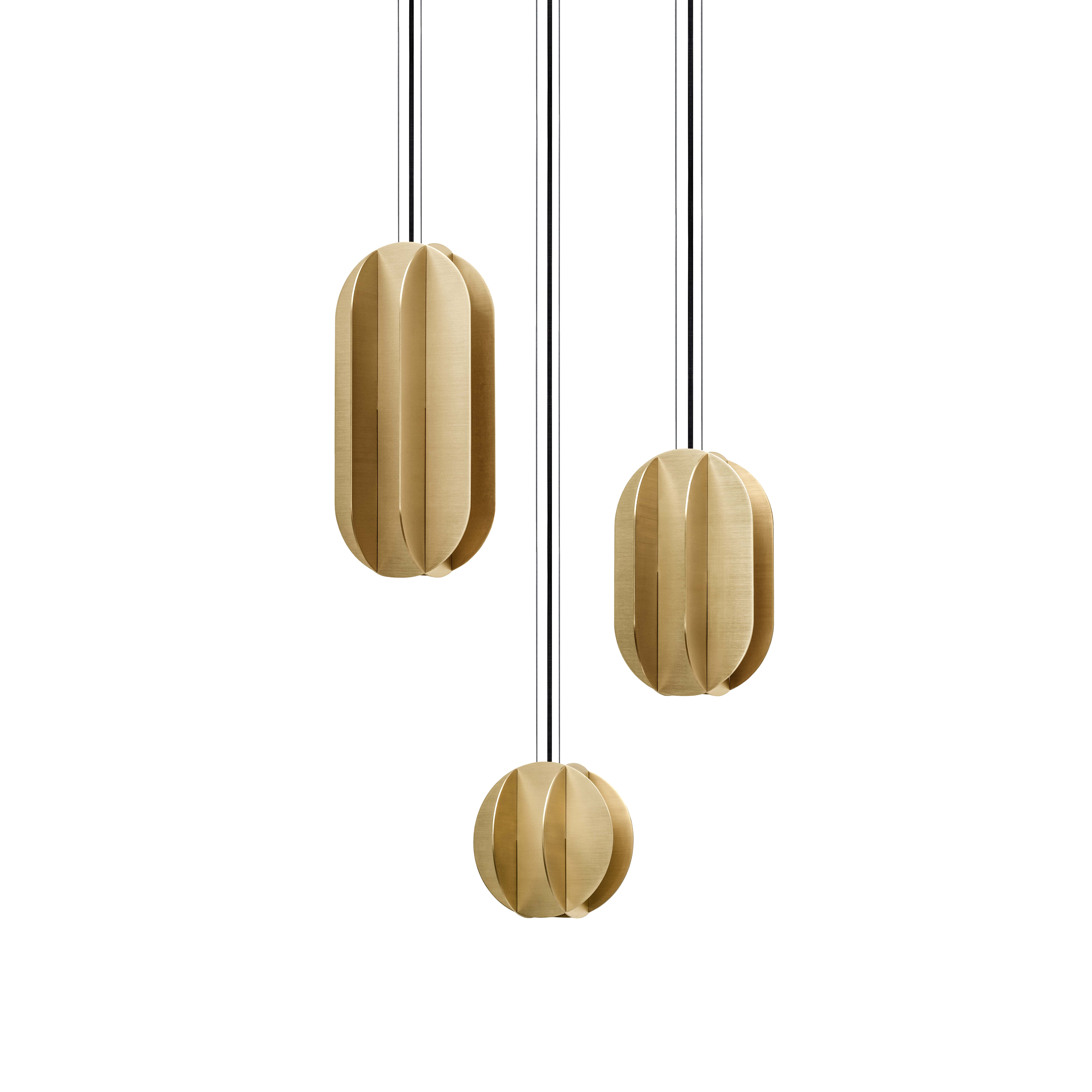 EL Pendant Lamp CS1 Brass - <p>With a nod to geometric works of the great Suprematism artists El Lissitzky and Kazimir Malevich, this structural series of pendant lightings combines modernist and contemporary looks.<br />The sleek and stylish design scheme of EL Lamps makes them perfect to illuminate the objects in homes and public spaces, highlighting with an accent light.<br />EL Lamps available in a range of sizes will always look like a small art object in your interior.</p> <p>SPECIFICATIONS<br /> Electrification: EU version: LED 10W   G9   220 -240V   50 Hz<br /> USA version: LED 10W   G9   110V   60 Hz</p>    Matter of Stuff