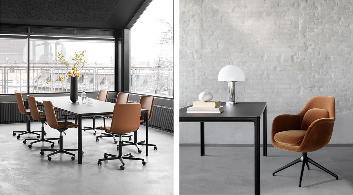 Mesa 4616 Table - With its slim 14 mm tabletop, Mesa is an understated line drawn through the room. The linoleum or laminate tabletop stands in sharp contrast to the soft curves of the aluminium frame and legs.  A simple, versatile table that blends seamlessly into any décor, Mesa gives the impression of a slim line that appears across a room. Boasting a thin tabletop laminate in contrast to the soft curves of the aluminium frame. Attached to the frame are the legs, which are placed at the outermost edges of the table. Allowing for the most leg room possible for any type of chair imaginable.   Whether as a desk, dining table or conference table, Mesa is a discrete, durable solution that's easy to assemble and disassemble. In a streamlined aesthetic that makes it a natural choice for virtually any situation. Adding a tranquil sense of simplicity even to the busiest of environments. | Matter of Stuff