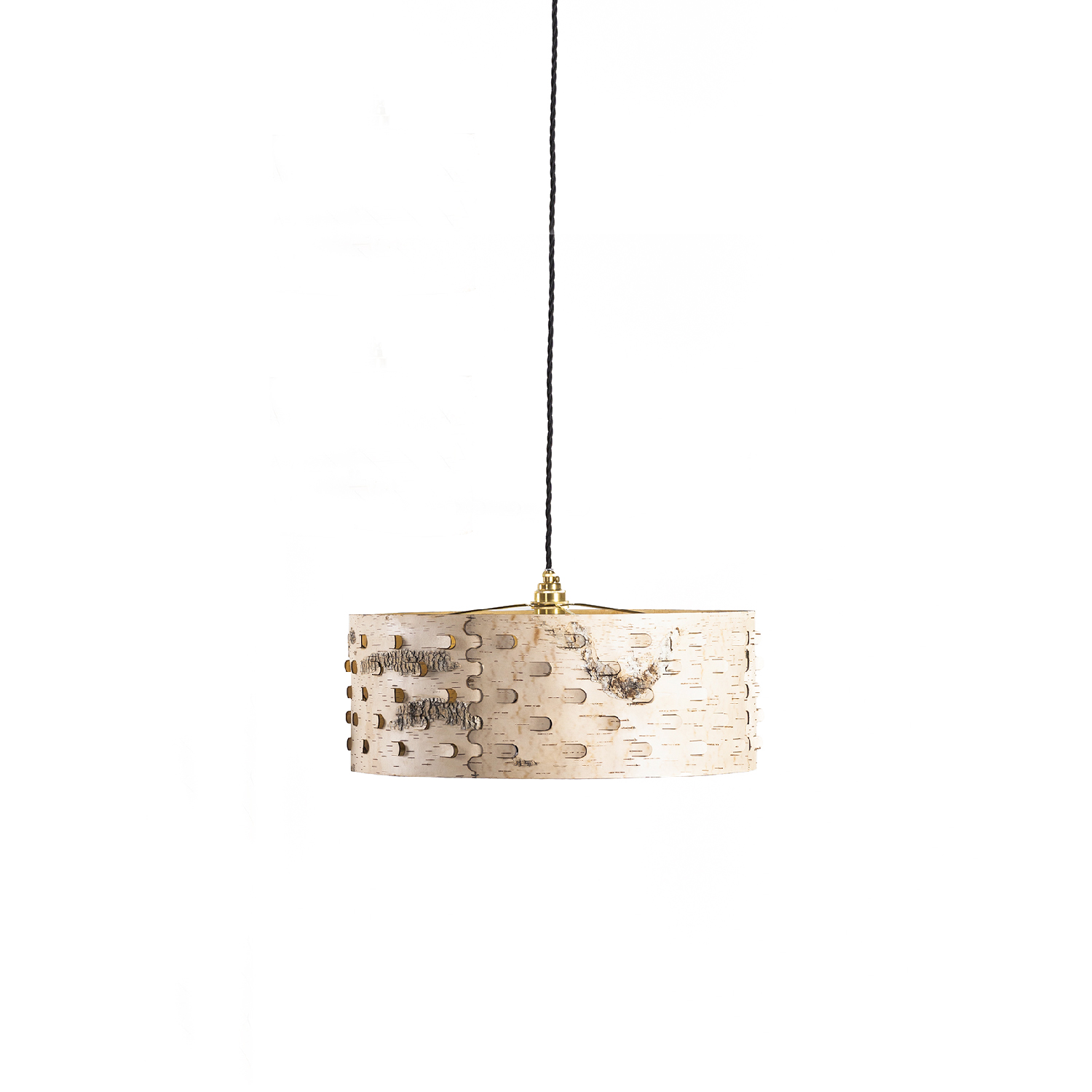 Svetoch SH50 Pendant Lamp - A traditional glue-free plug technique is combined with a modern laser technique which allows the light to shine through the lampshade in a playful manner. Svetoch is great at setting the mood and ensuring a cosy and intimate ambience.   Unlike in traditional craftsmanship, we make our products from the naturally velvety back of the birch bark. We deliberately chose the lighter inner layers of the bark to celebrate the graphic grain and colouring of each piece. Every object is thus one of a kind, representing a unique product of nature, which is emphasised by contrasting colour accents. High quality is ensured by elaborate craftsmanship and careful material selection.  The lampshade comes in three sizes, each available both as a pendant and floor lamp.   | Matter of Stuff