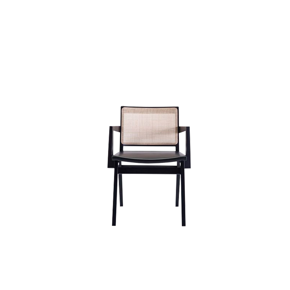 Dorothea Armchair - The new Dorothea chair combines a design with an essential character with the iconic rattan weaving of the backrest. The whole family is made up of a chair, armchair and stool made of ash wood with a straw-covered back inside a wooden frame and a seat covered with a double layer of leather.  The thickness of the leather, coming from the best Tuscan tanneries, is coupled to the canvas underneath to guarantee an excellent holding to the seat. Perfect for both domestic and contract use.  Frame can be customized in a range of finishes:                               RAL/NCS colour lacquering I Aniline RAL/NCS colour I Acrylic finish | Matter of Stuff