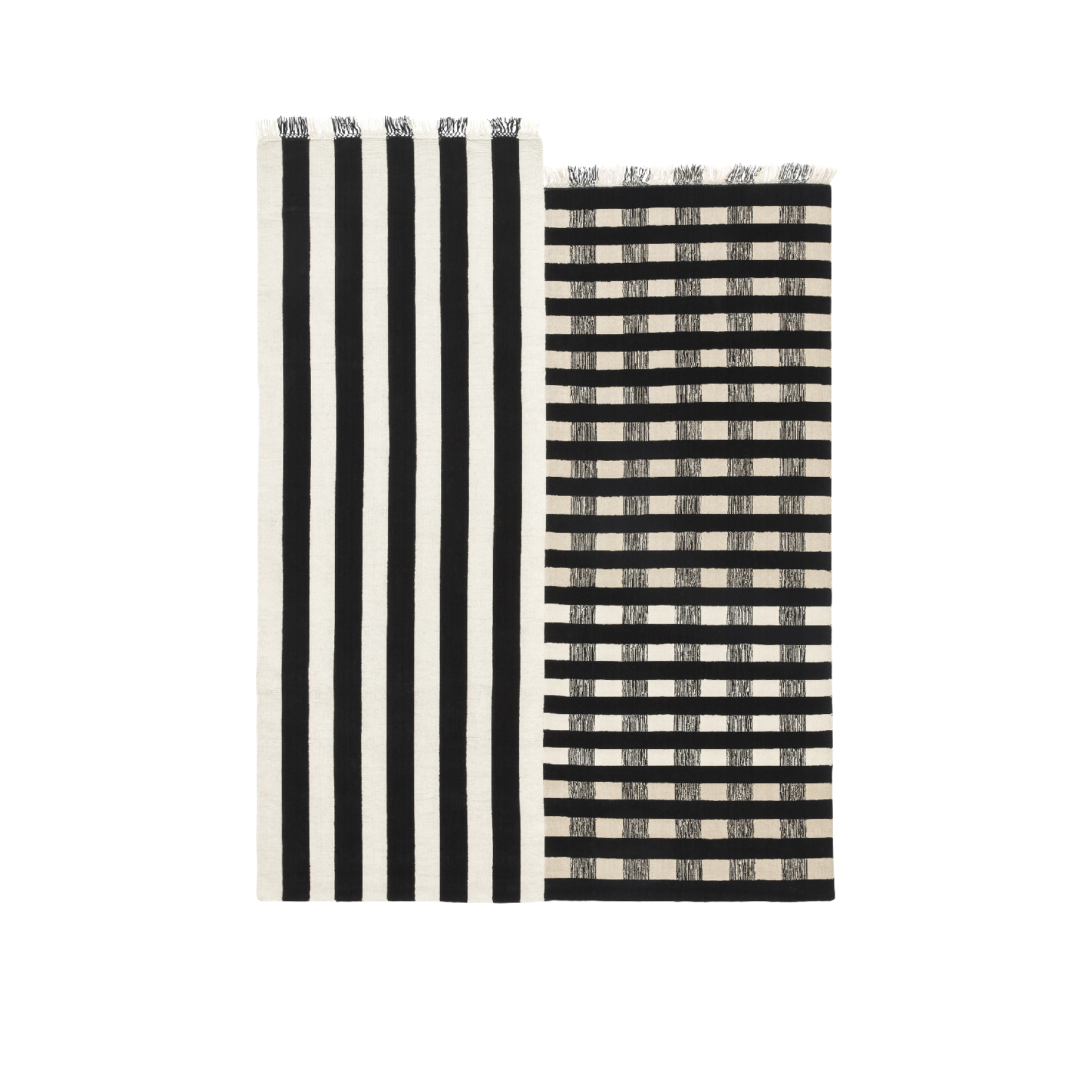 Half Stripe - Half stripe is inspired by the traditional West African striped weaving techniques, but using a visual language that reminds the minimalist abstract expressionism.  Dimensions: 170 x 240 cm – 200 x 300 cm Special dimension available on request  Composition: 90% New Zealand wool, 10% cotton  Total weight: 2,5 Kg mq   | Matter of Stuff