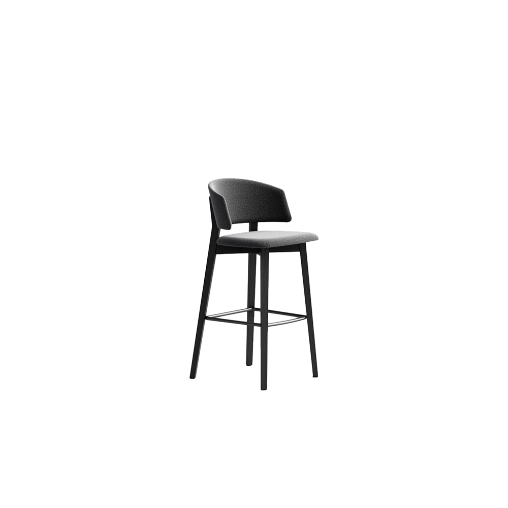Wrap 6C64 Stool - Seat collection in stained or lacquered beechwood, with fabric, leather or eco-leather upholstery. Capable of transforming a room, a venue, a restaurant, a café through its softness and colour.  Lacquered versions available for an additional surcharge: Ral 9016 White I  Ral 9017 Black I Ral 7030 Stone I Ral 3020 Red | Matter of Stuff