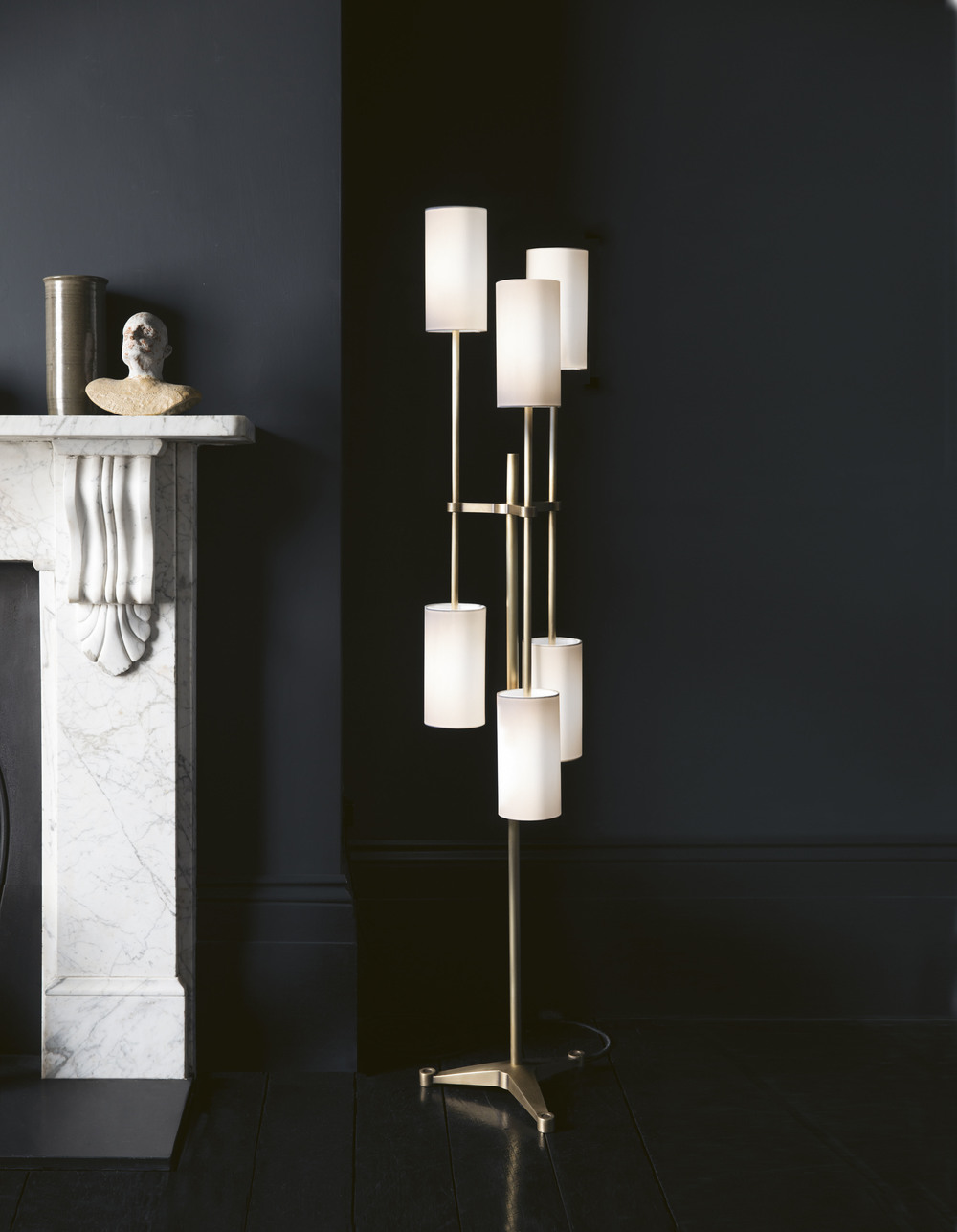 Pugil Floor Lamp - <p>Effortlessly elegant, the Pugil Floor Lamp features six ivory fabric shades which contrast with the warmth of hand-brushed brass arms. A stylish light that will complement any interior.</p>  | Matter of Stuff