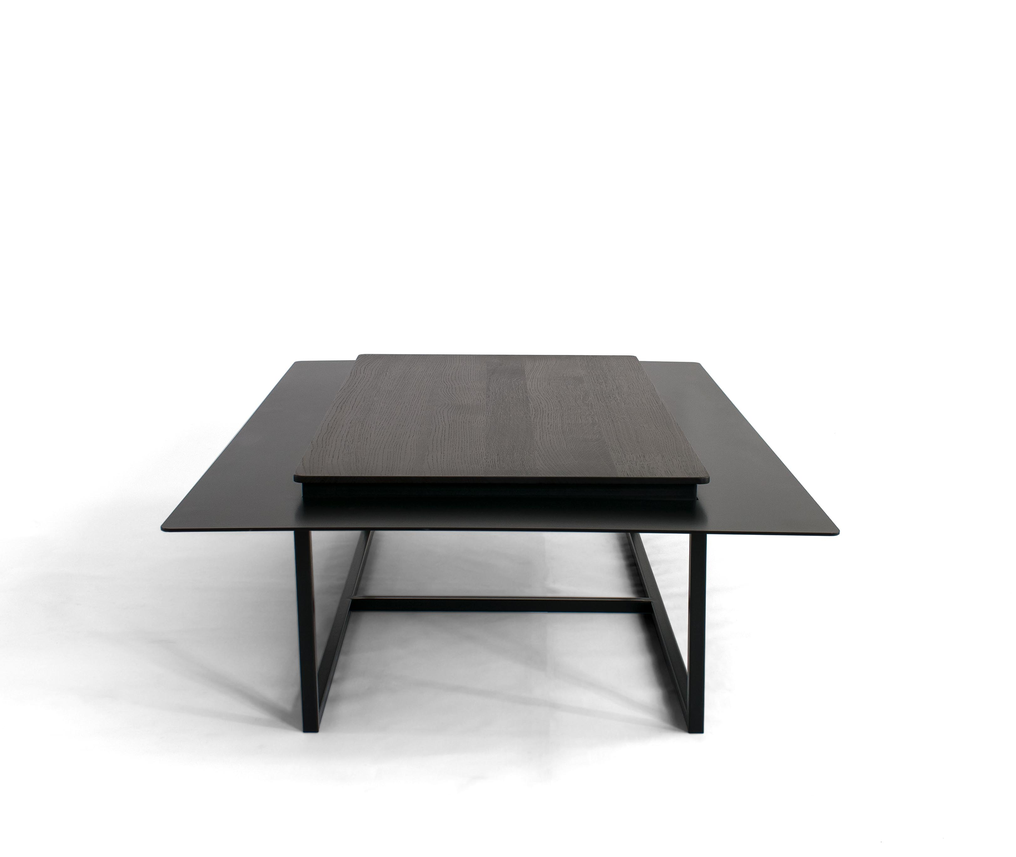 Tungen Coffee Table - The table consists of a stone top with a metal collar. This will enable the separation of everyday objects from those, that we want to expose on the slightly elevated part. The table lies on a steel frame.  The tables are made to size. The color and type of stone can be chosen according to customer preferences.  Here are the dimensions of the sample table shown in the visualization.  | Matter of Stuff