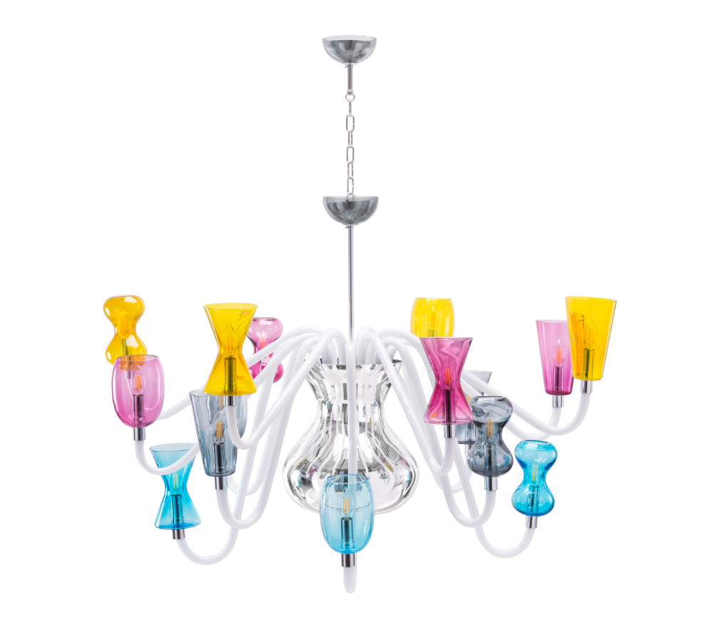 K1 Chandelier - Karim Rashid reinterprets the traditional Venetian chandelier for Purho, transforming it into an ethereal luminous sculpture. Consisting of a central body in mirrored glass from which a series of slender transparent glass arms unfold, K1 is characterized by the unusual shapes of Murano blown glass cups, geometric and rounded, in a regular alternation. The glance is unprecedented, contemporary, decidedly harmonious thanks to the lightness of glass and the special colour proposed in the catalogue. K1 is also available for customisation thanks to the colour variations of the colour chart.  Please enquire for colour options and customisation. | Matter of Stuff