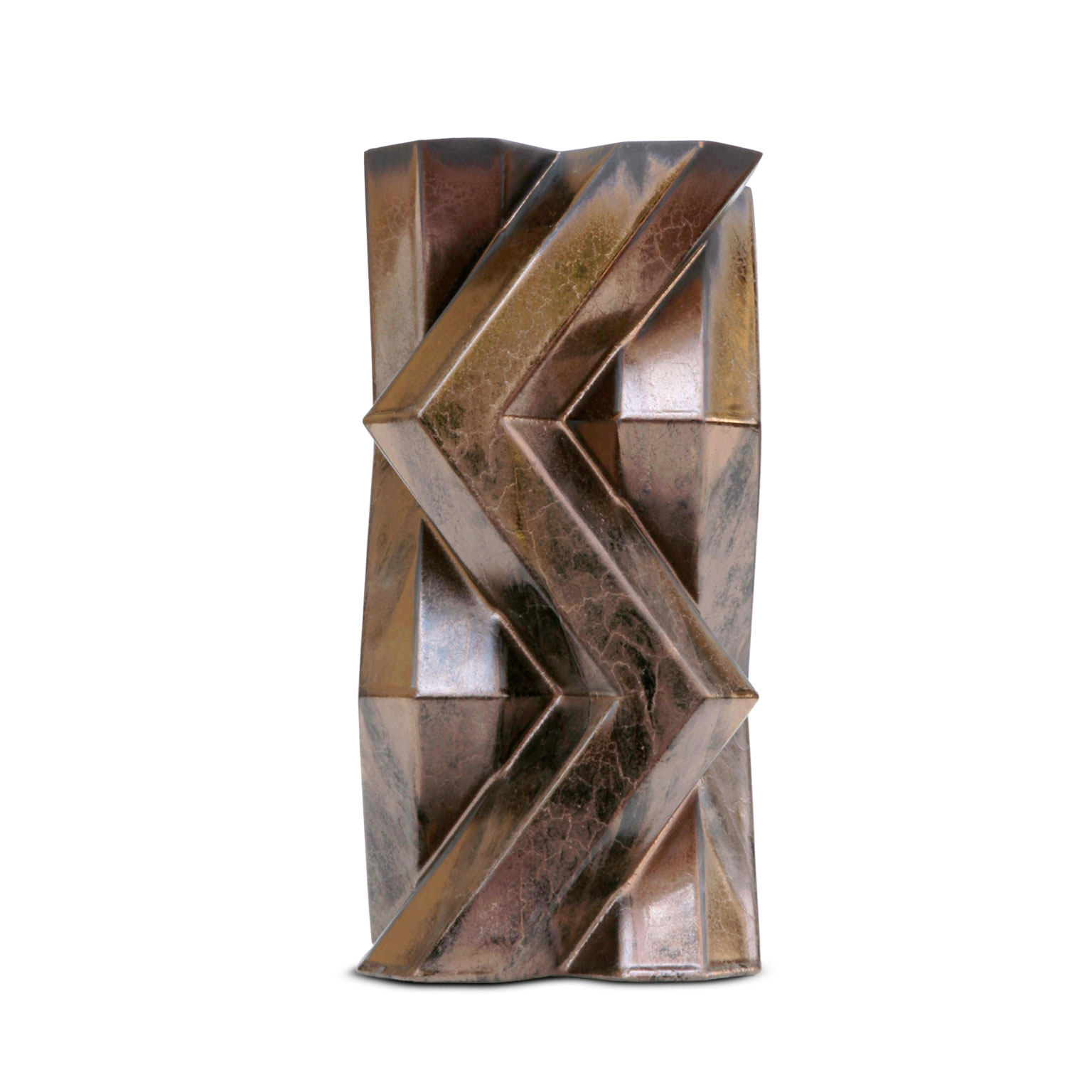 Fortress Tower Vase Bronze - <p>Designer Lara Bohinc explores the marriage of ancient and futuristic form in the new Fortress Vase range, which has created a more complex geometric and modern structure from the original inspiration of the octagonal towers at the Diocletian Palace in Croatia. The resulting hexagonal blocks interlock and embrace to allow the play of light and shade on the many surfaces and angles. There are four Fortress shapes: the larger Column and Castle (45cm height), the Pillar (30cm height) and the Tower vase (37cm height). These are hand made from ceramic in a small Italian artisanal workshop and come in three finishes: dark gold, bronze and speckled white.</p>    Matter of Stuff
