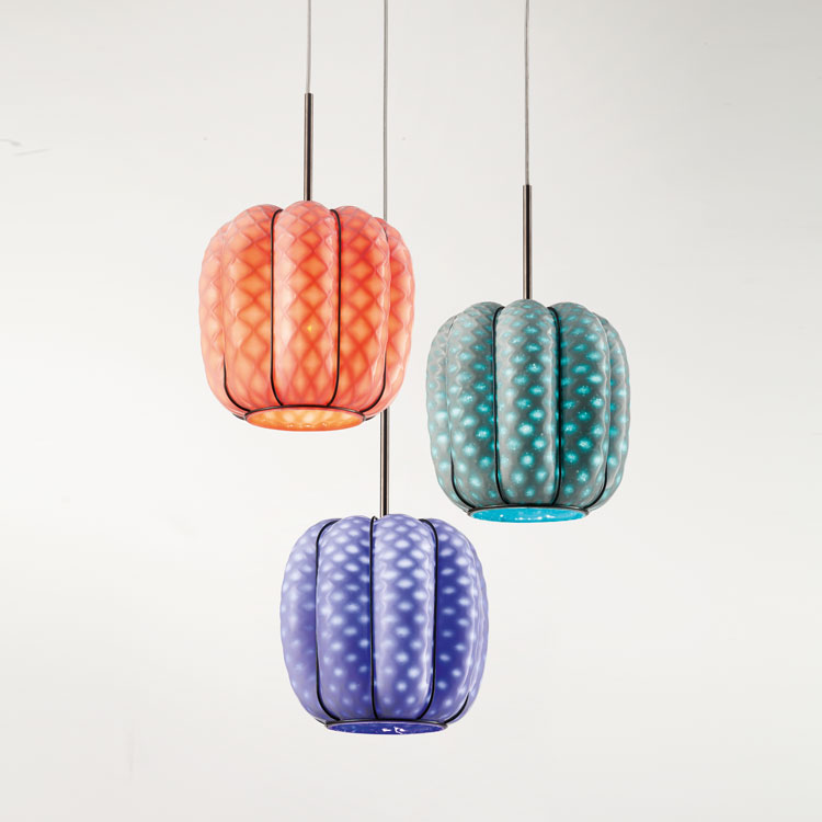 Nest Pendant Light Group - The Nest Pendant Light group features three Nest lights that are arranged in a grouped suspension. These bright and delightful lights add a pop of colour wherever they are placed and are a contemporary take on a classic style.  These are hand made blown glass suspension with the techniques of the old Murano glass masters. They can either be purchased in a straight line all at the same height or clustered at varying heights.     Matter of Stuff