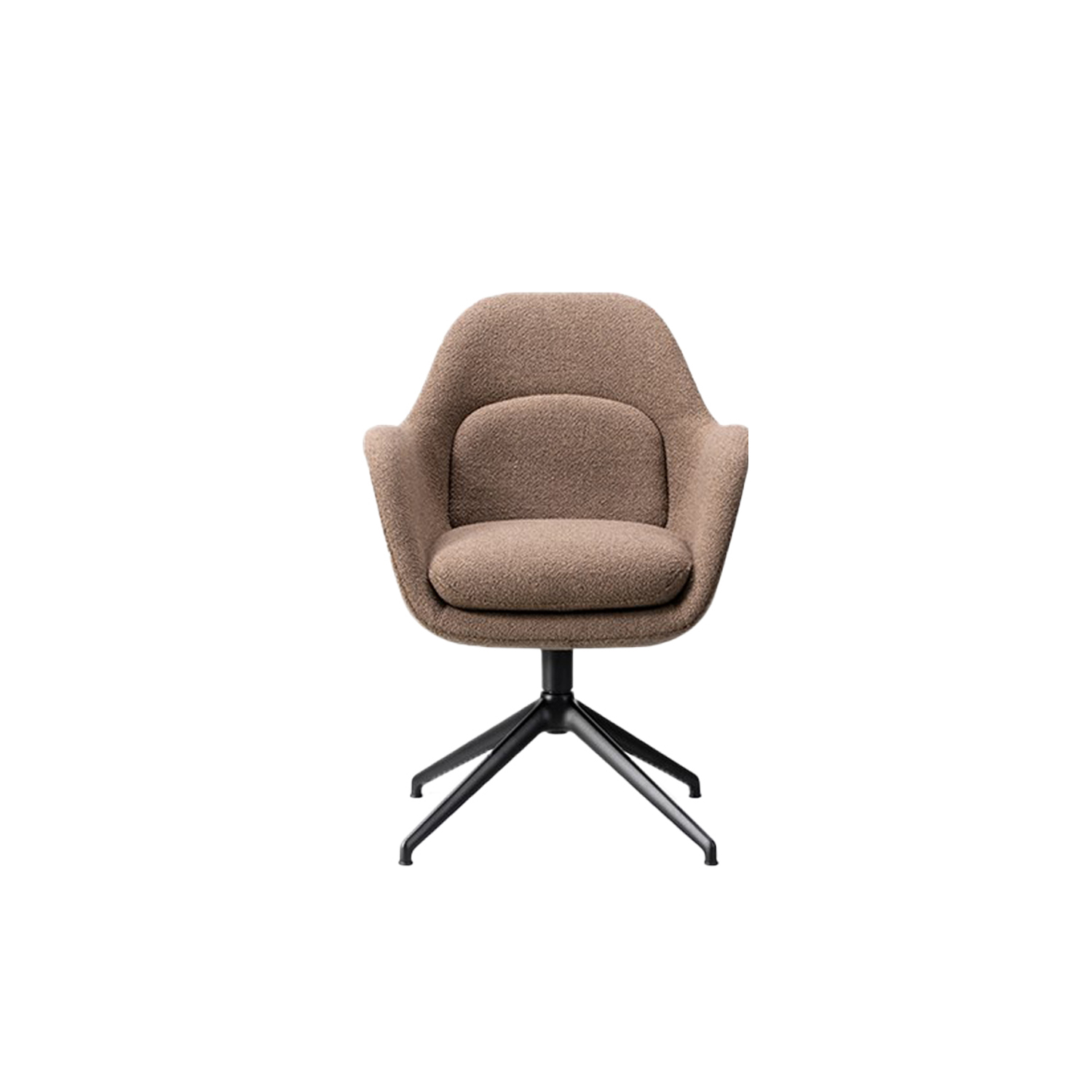 Swoon Chair Swivel Base - The Swoon Chair is the smallest upright version of Swoon. With its singular shell merging the armrests, seat and back, in addition to the supportive, soft cushions and choice of solid wood, you have a subtle, sculptural chair that can easily be personalised for more interiors, such as restaurants, executive offices, meeting rooms and private residences. With its continuous curves, lush look and sculptured shape, Swoon echoes Space Copenhagen's desire for you to enjoy life at a slow pace.   Originally launched for the 11 Howard Hotel in New York, the Swoon Lounge is an open invitation to luxuriate in comfort. Based on their extensive experience designing high-end hotel interiors and Michelin-star restaurants, Space Copenhagen created Swoon to fill a gap missing in the market – a hybrid of a lounge chair and an armchair with the benefits of both. The singular shell merges the back, seat and armrests into one entity, allowing for exceptional support and a fit that feels natural. The seat and back cushions are also attached as one piece for endless hours of comfort.   Swoon is suitable for hotel lobbies, VIP suites, restaurant reception areas, upscale bars, lounges and private residences.   Of course, the perfect companion to any lounge chair is an ottoman. The Swoon Ottoman not only adds to your ability to stretch out and relax even more, it's a decorative element in its own right. Ideal as a pouf for punctuating any space with style.   Look for the same casual take on elegance in the Swoon Lounge Petit. Slightly smaller in size, it features a high back designed at a more upright angle. The result is a chair that invites you to unwind, making it conducive for conversations or working on your laptop. | Matter of Stuff