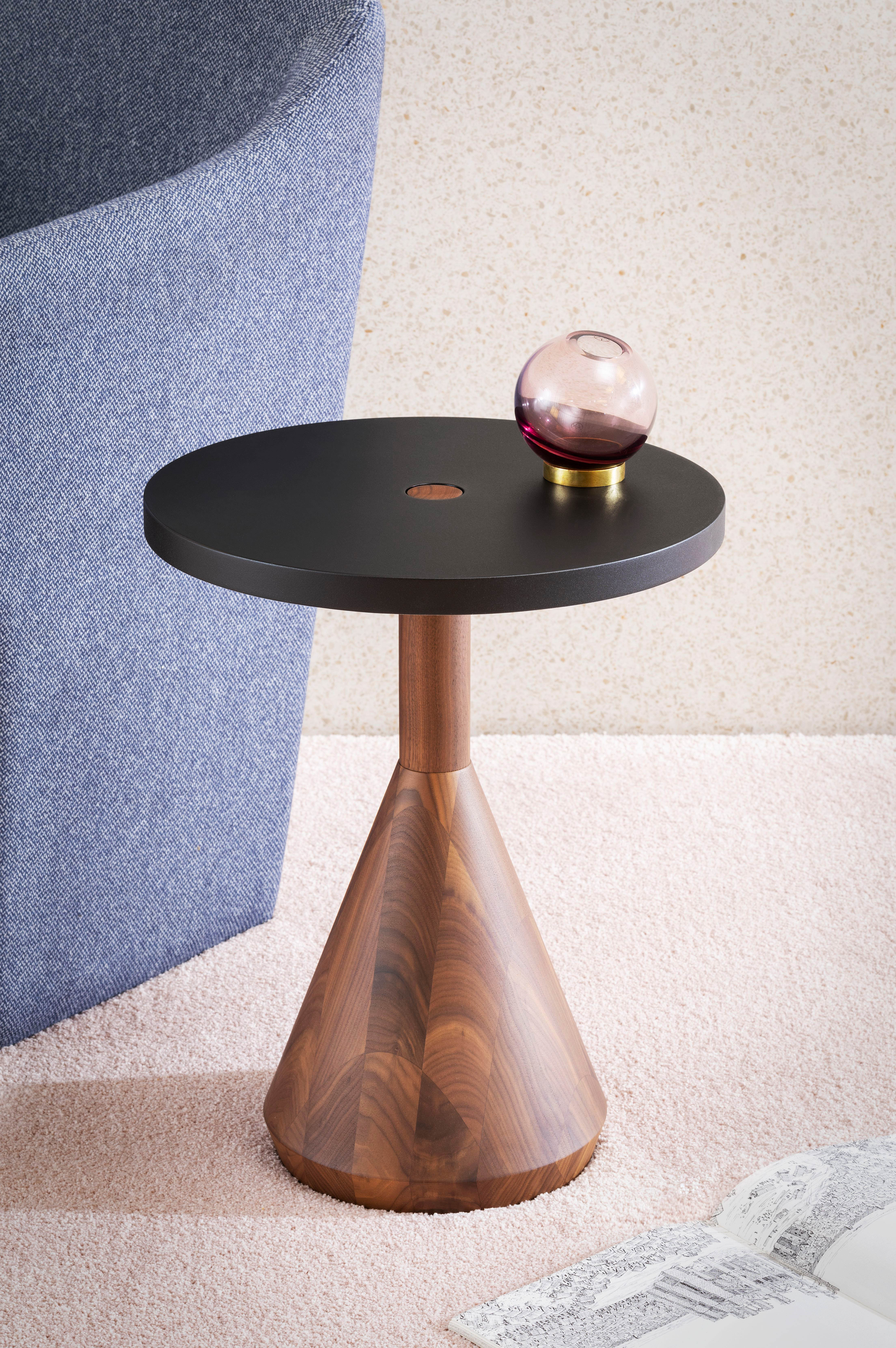 Pezzo Coffee Table - Pezzo is an exercise in geometry on the balance of solids. In this case, made in solid oak or walnut. Pezzo is both a stool and a small table.  Several colours are available for the lacquered top.  | Matter of Stuff