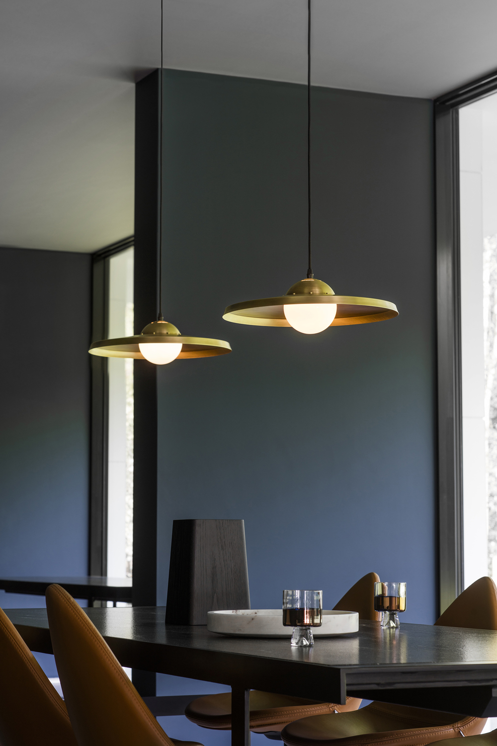 Sedge Pendant Light - <p>With a simple and sleek spun brass shade, the Sedge Pendant Lamp is finished by hand with understated brass industrial-inspired fixing details and a single central opal globe.</p>  | Matter of Stuff