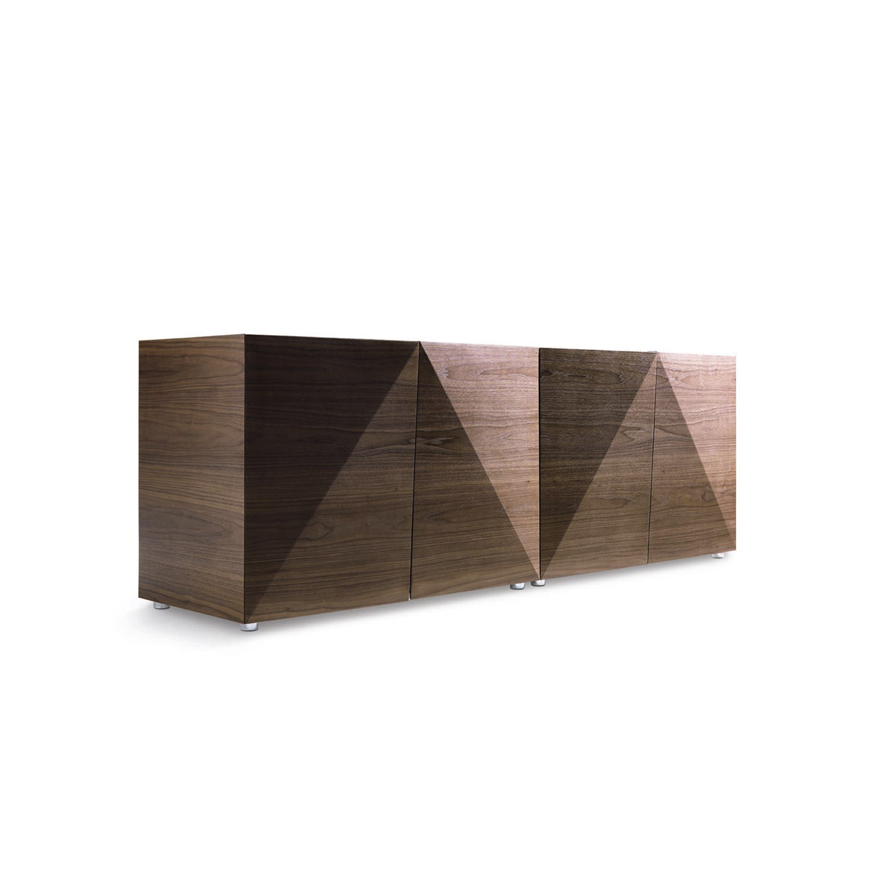 Not Riddled Sideboard - <p>Not Riddled features a set of diamond-shaped doors that can be operated without hinges. Steven Holl has managed to shape a wood-fabric piece that through small, laser-inscribed incisions, can be folded in an origami-like fashion, holding the container sides. It comes in two heights: 66 cm and 98 cm. The structure is made from lacquered particleboard or MDF. Sides and doors made from a material designed and patented by Horm, composed of a sandwich of walnut veneer and fabric 2.2 mm thick, which, thanks to a number of superficial incisions made with a laser cutter, can be folded up like origami. Transparent tempered glass shelves, with a polished edge, 5 mm thick. Not Riddled is the sublimation of a contemporary and intelligent application of mechanical innovation. All cabinets are available with H16 cm or H32 cm metal base, as an alternative to the H2 cm feet.</p>  | Matter of Stuff