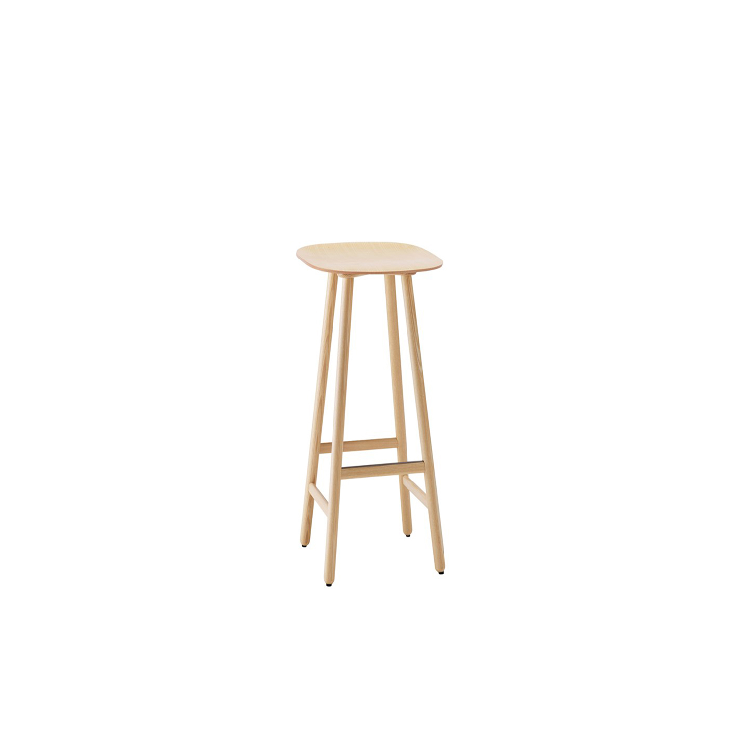 Shell High Barstool - Shell stool (2015) has the clean lines and innovative combination of materials that are the signature features of Scandinavian design. Like a chair, Shell has a back and front, with a hint of an upward slope at the rear and a gently rounded front edge for enhanced comfort while seated. Available in solid oak, birch, ash, standard colors, standard stains on ash and white glazed oak or ash. Shell comes in a choice of three heights 450, 650 and 800 mm.  Choose a wooden seat or one upholstered in fabric or leather. The footrest of high stool has a stainless steel footrest protector.  The stool is available with cushion with a leather or fabric cover at an extra cost. Please enquire for more details. | Matter of Stuff