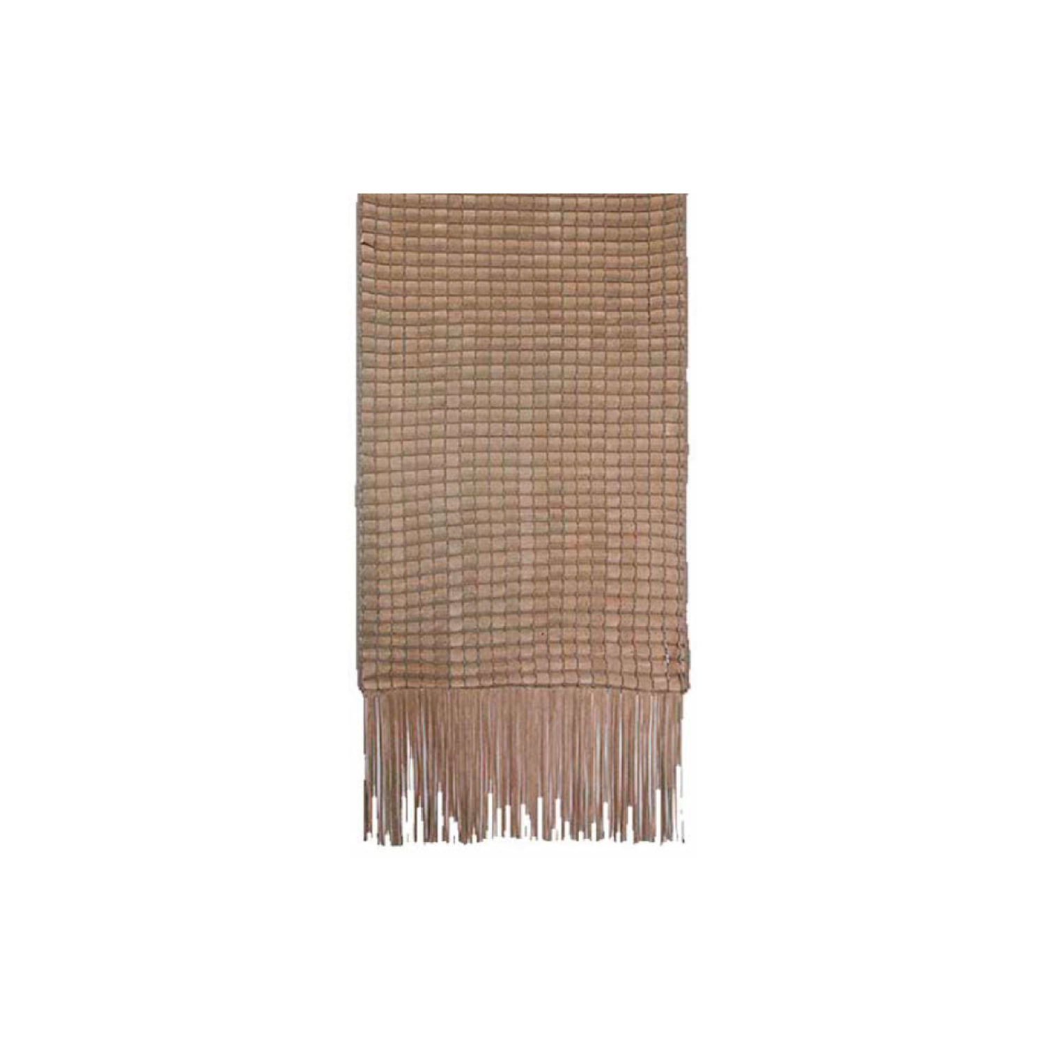 Cordao Fringe Woven Leather Throw - The Cordao Fringe Woven Leather Throw is designed to complement an ambient setting with natural and sophisticated feeling. Elisa Atheniense woven leather pieces, are handmade and manufactured in Brazil using an exclusive treated leather that brings the soft feel touch to every single piece.  Bespoke sizes and colours are also available upon request, see colour chart for reference. | Matter of Stuff