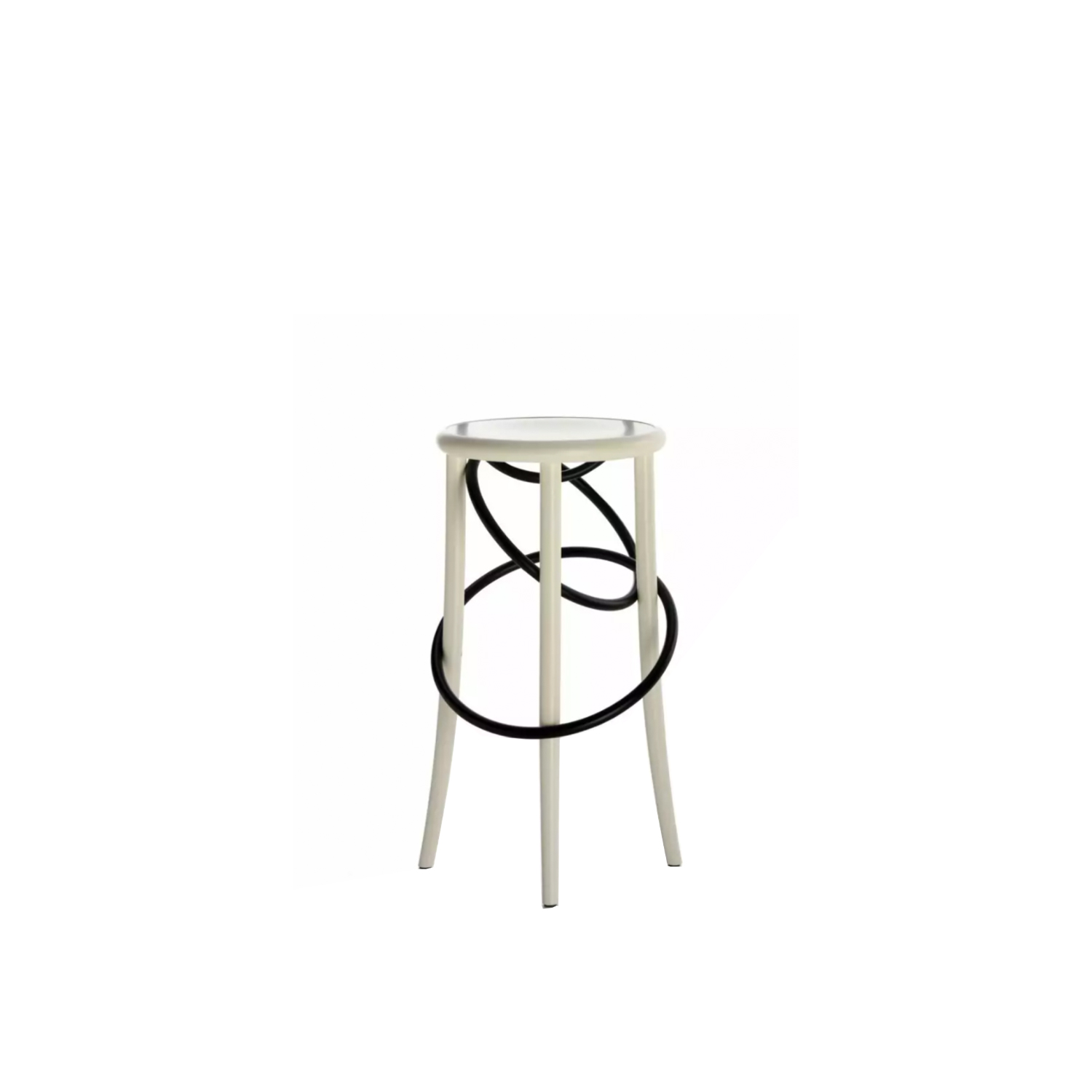 Cirque Upholstered Two Tone  - The light and playful circus theme is at the core of the Cirque family of stools designed by Martino Gamper for Wiener GTV Design. The bent element, which is the brand's signature trait, is surprisingly and unexpectedly inserted in the base of the stool, forming the outline of the seat in the form of a chain comprising two or three wooden rings that loop around the full length of the stool legs. This striking styling effect blends in seamlessly with the functionality of the seat, which is available in two heights: a tall, sleek stool with or without backrest, Cirque L and Cirque M, and the stable and well-proportioned low stool, Cirque S.