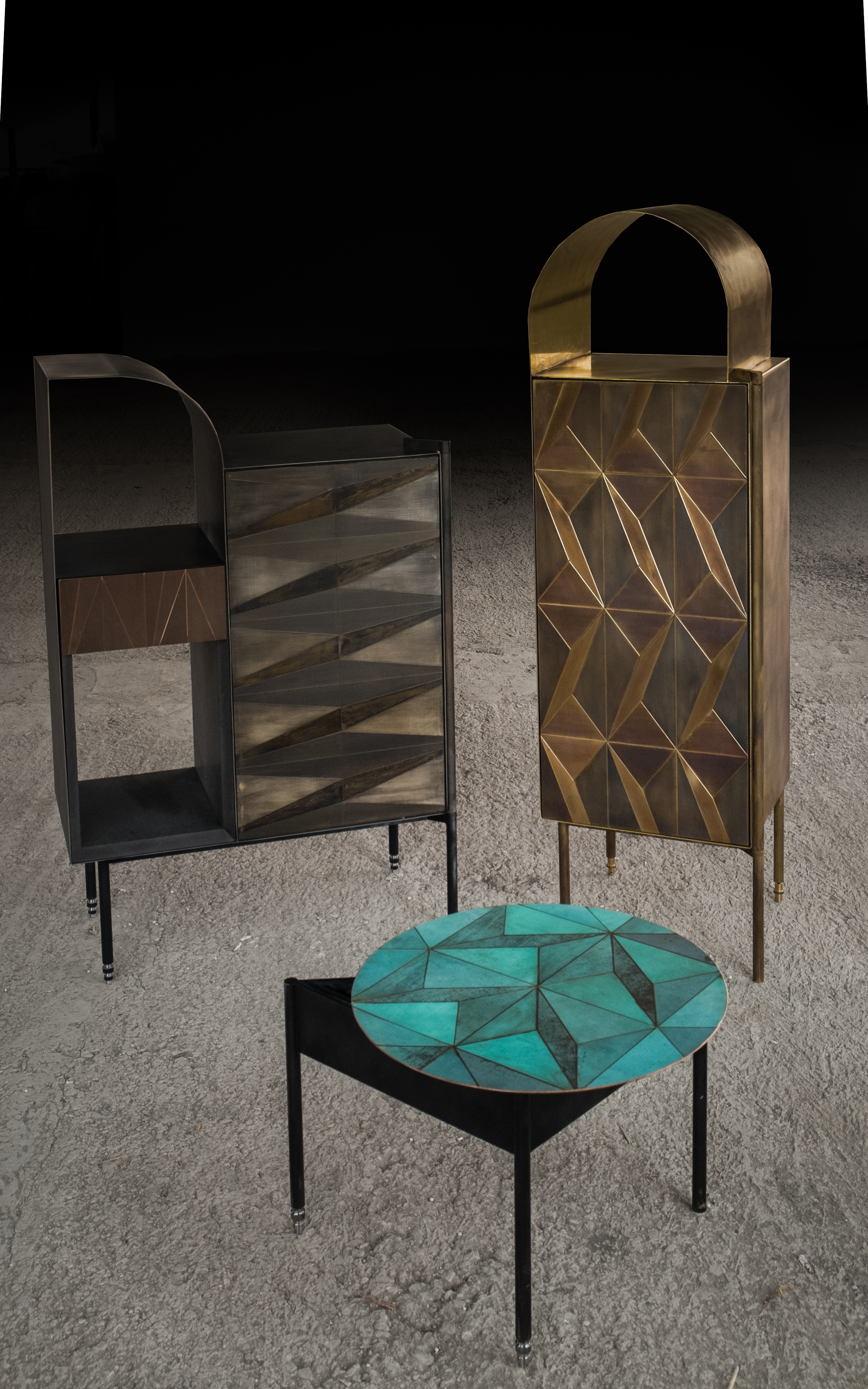 Marque' Coffee Table - <p>The collection by Alessandro Zambelli comprises a series of storage furniture that include a small cabinet, a dry bar, a console and a coffee table, where the metal inlays remind of those traditionally found in Art Deco wooden furniture, adding a new element of character and prestige. The linear essentiality of the forms, which is reflected in each element of the collection, is enriched by the presence of precious superficial decors that are juxtaposed through inlays: small metal oxidised plates animate the surface of each storage element with their refined alternation of delicate geometrical motifs. The oxidation process brings a unique mutation of the surface itself, enriched by a whole variety of shades and gradation.<br /> Developed and Produced during the Matter of Stuff Designer Residency program in Montalcino</p>  | Matter of Stuff
