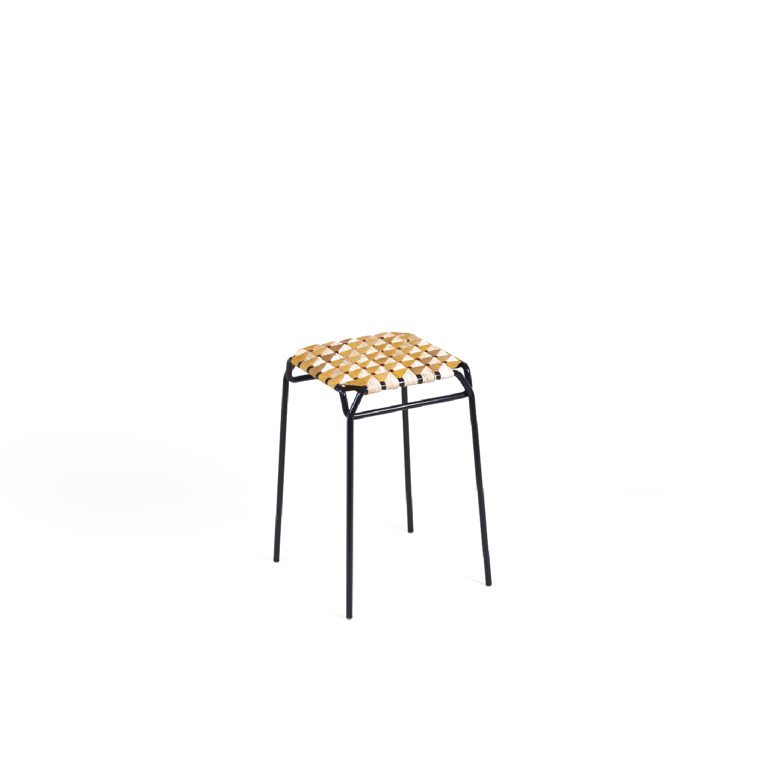 Taburet Stool - Taburet is a stool with a threedimensional seat made of birch bark strips, sewn and fixed together on a steel frame. The stable, light, and elastic meshwork creates an optical illusion – appearing different from every angle – cushioning the stool in a decorative and comfortable way.  Unlike in traditional craftsmanship, we make our products from the naturally velvety back of the birch bark. This is a modern adaptation of conventional processing and is used extensively in the design of the stool. We deliberately chose the lighter inner layers of the bark to celebrate the graphic grain and colouring of each piece. Every object is thus one of a kind, representing a unique product of nature, which is emphasised by contrasting colour accents. High quality is ensured by elaborate craftsmanship and careful material selection.  Height 45 cm | 33 x 33 cm Birchbark, powder-coated steel | Matter of Stuff