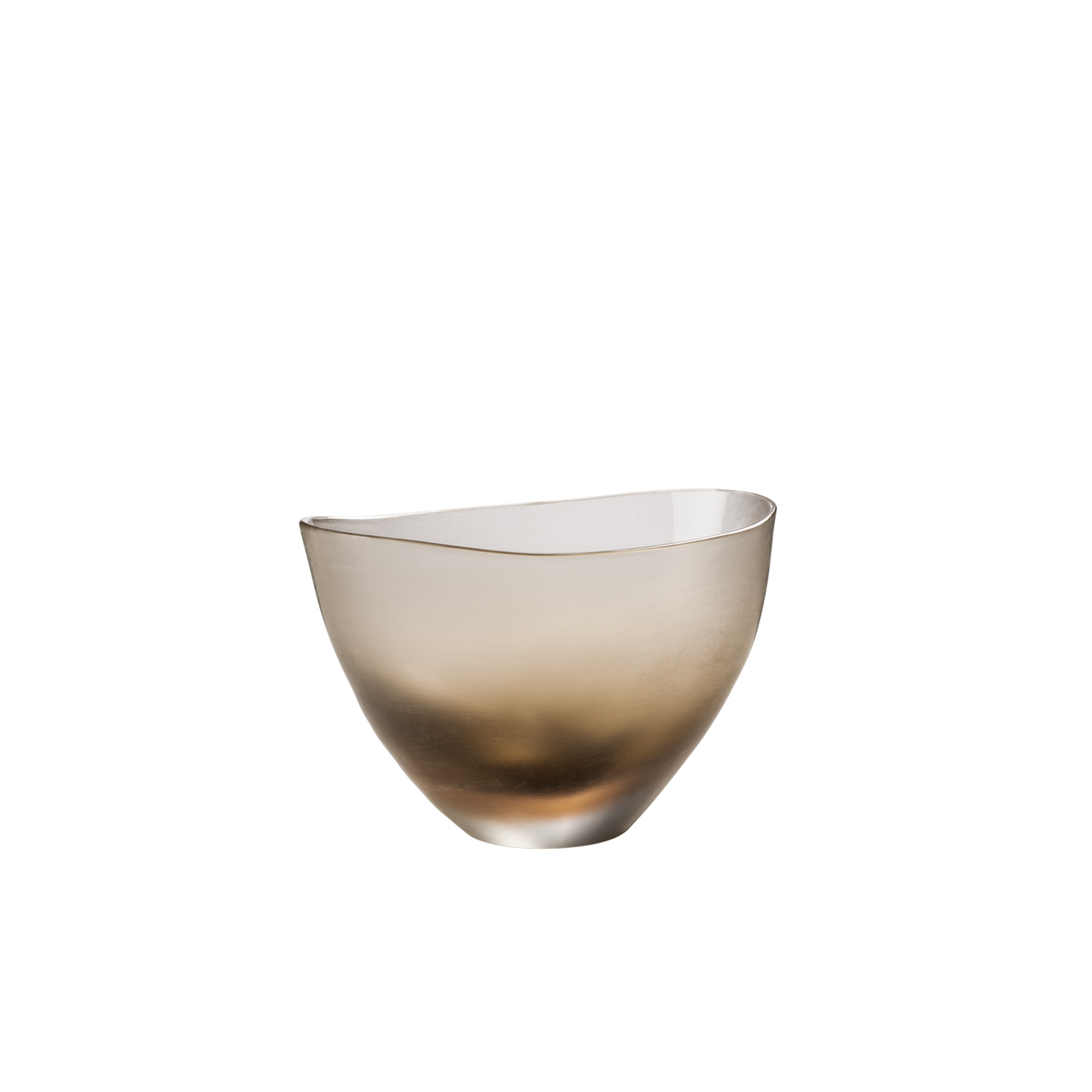 "Incisi Quartz Bowl - Part of the ""Incisi"" collection, they are named after a complex and sophisticated technique. This glass is cold-engraved with gentle colours, refined and subdued. They invite you to lightly caress them. A multitude of shapes and colours. Apparently, Paolo Venini had a knack for experimenting with Incisi. This exquisite mouth-blown glass vase boasts a striking quartz colour and a wide shape with an asymmetrical rim.
