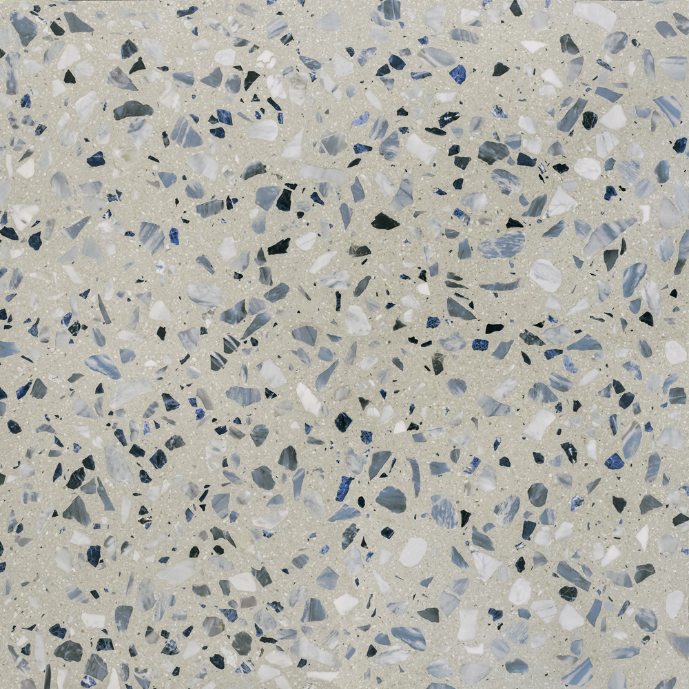 "Blueberry Terrazzo Slabs - The name of the SEEDS collection, ""semi"" in Italian, is intended to pay homage to the tradition of Seminato, an ancient Italian technique from which contemporary Terrazzo originated. As the word itself suggests, the technique consisted in spreading the marble fragments on the still fresh mortar. The gesture made in the act of sowing has an ancestral meaning in itself: we owe our evolution to nature, which has taught us this.