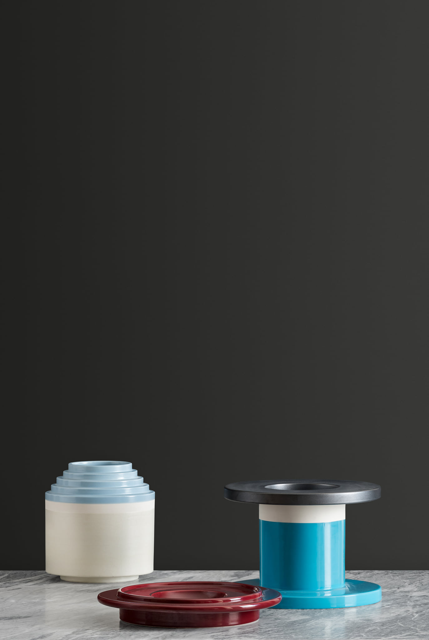 Two-Toned Glossy Turquoise Vase - Vase. Hand-turned in white clay. Two-tone glossy turquoise and matt oxidised copper glaze. | Matter of Stuff