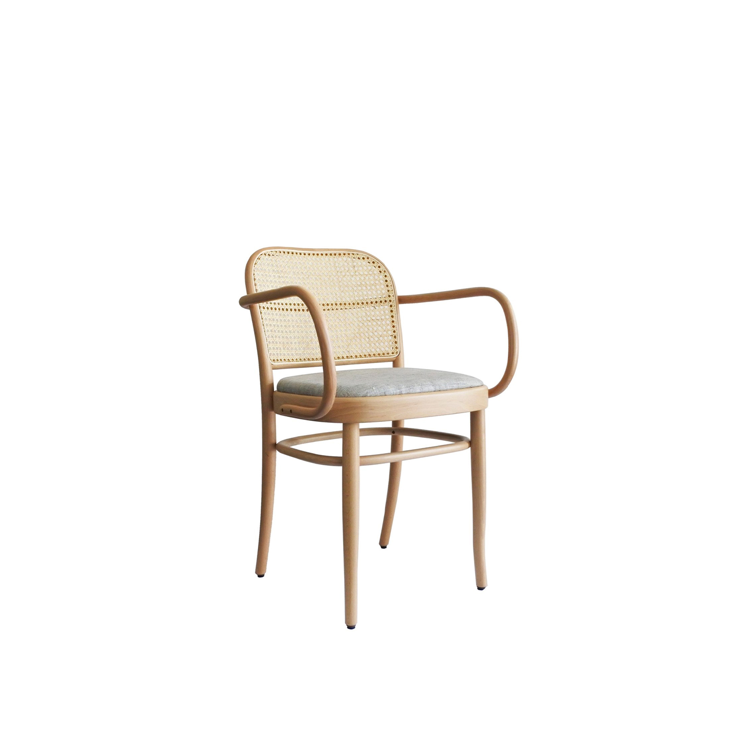 N.811 Armchair with Upholstered Seat  - N°811 is a high bar stool in wood and straw backrest.‎ Josef Hoffmann's renowned chair design known by the code 811 has a new cousin – barstool 813.‎ Just as the original chair, the barstool can be finished with airy cane weave, plush upholstery or a combination of the two.‎ | Matter of Stuff